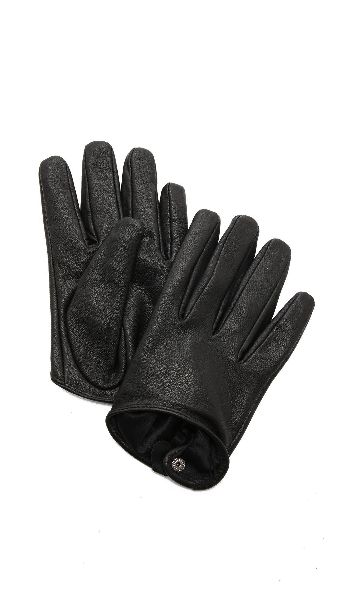 Ladies leather gloves selfridges - Carolina Amato Women S Black Short Leather Gloves