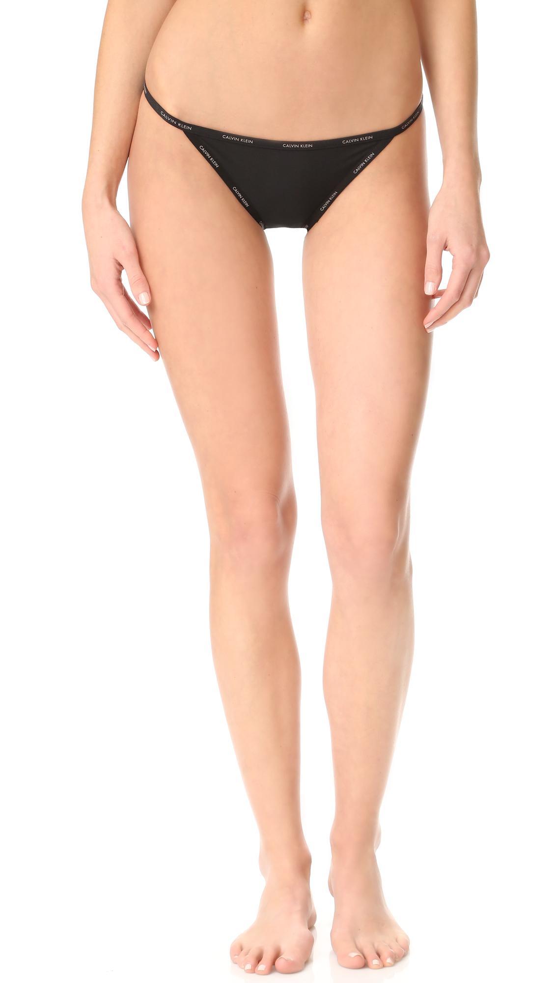 lyst calvin klein sheer marq string bikini in black. Black Bedroom Furniture Sets. Home Design Ideas