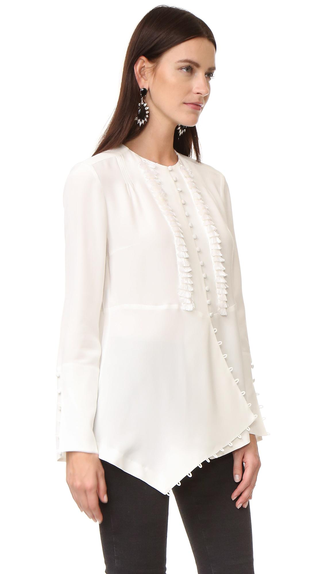 Lyst Derek Lam Long Sleeve Blouse In White
