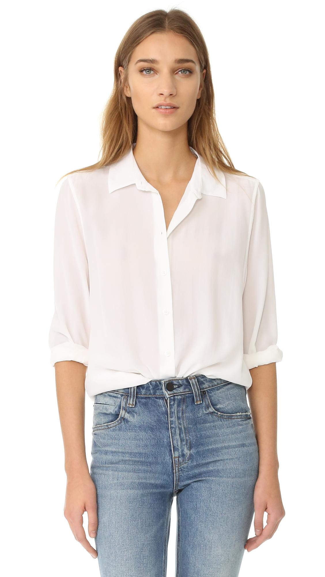 Equipment Essential Button Down Blouse in White | Lyst