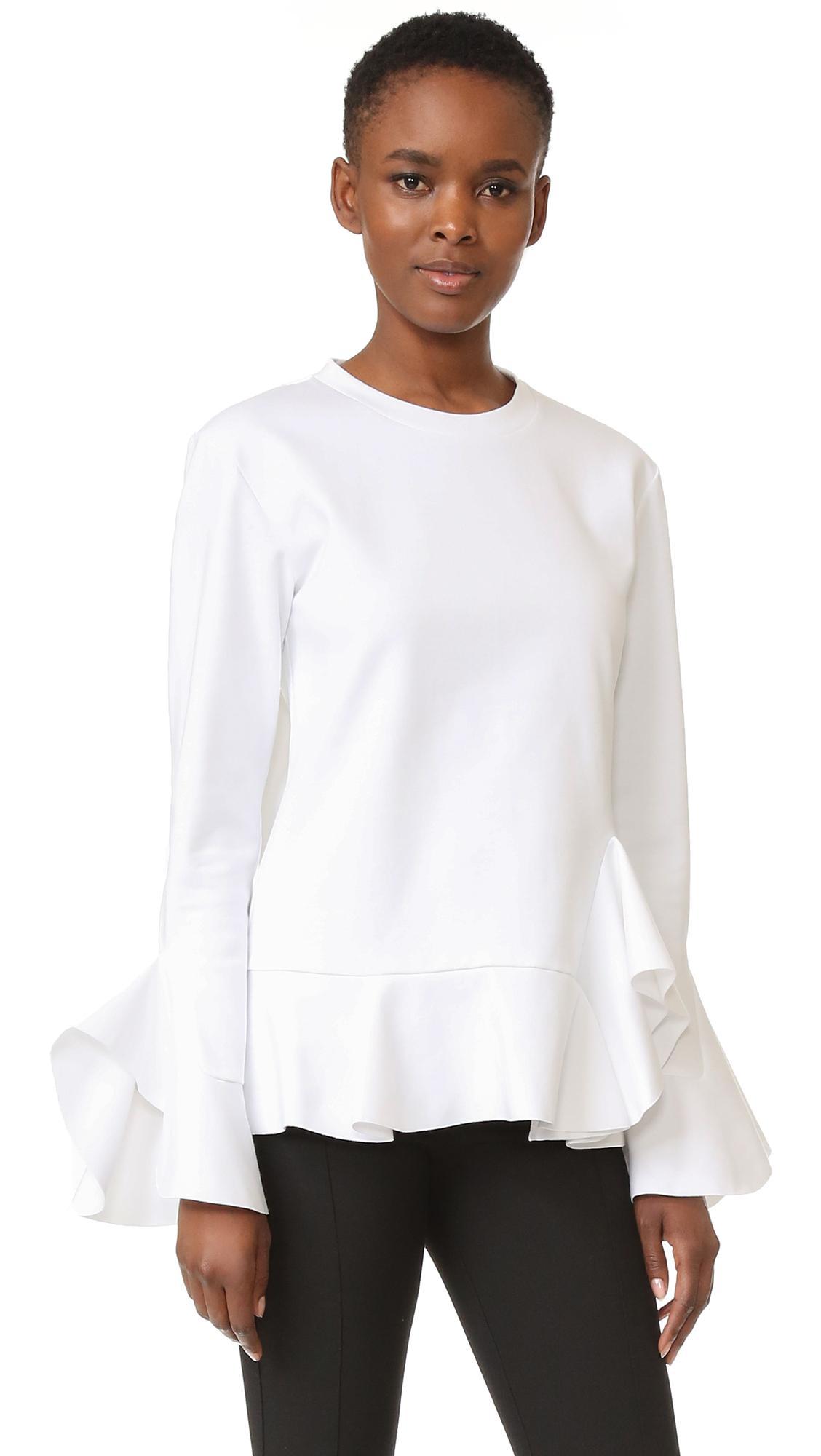 Goen j long sleeve top in white lyst for Adam lippes women s long sleeve vee t shirt