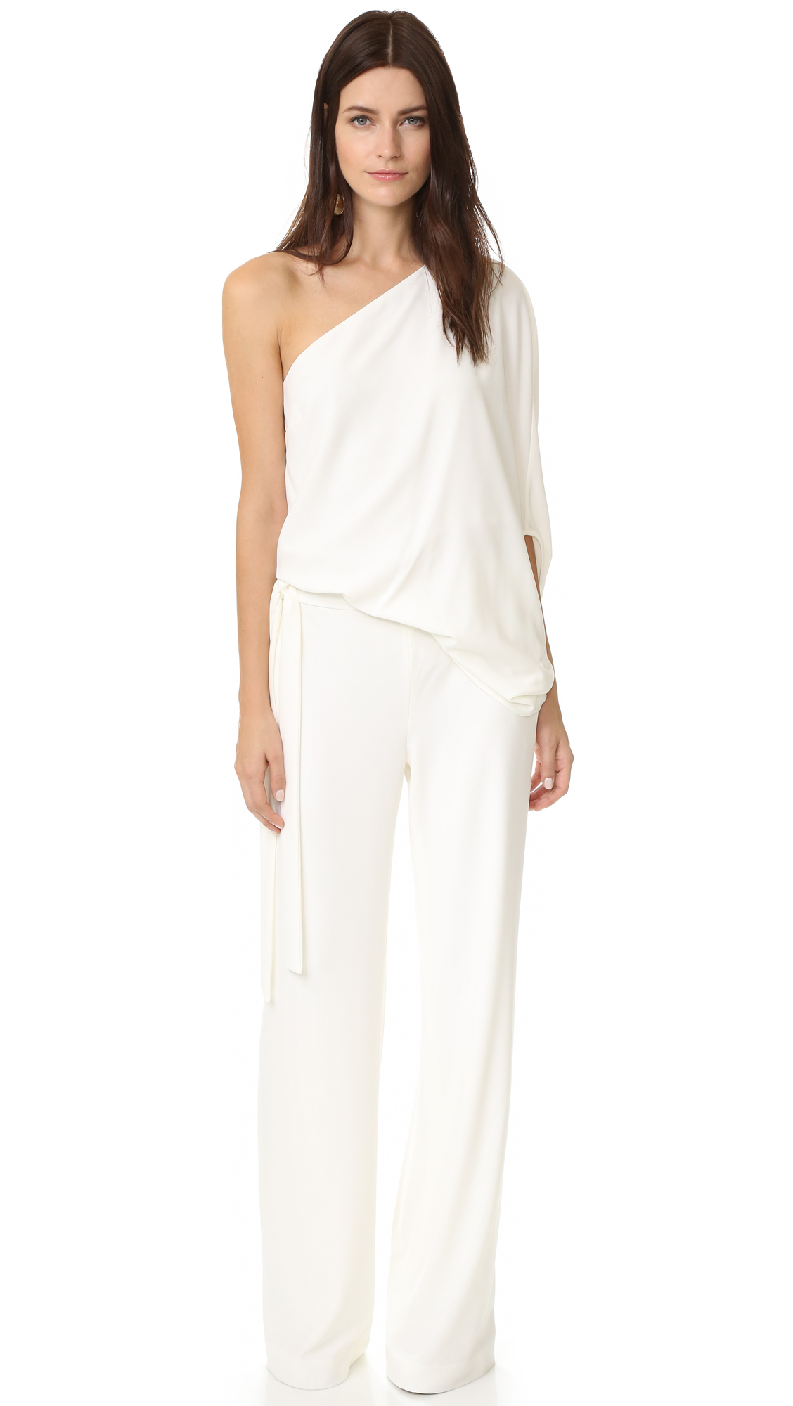 Lyst Halston Asymmetrical Wide Leg Jumpsuit In White
