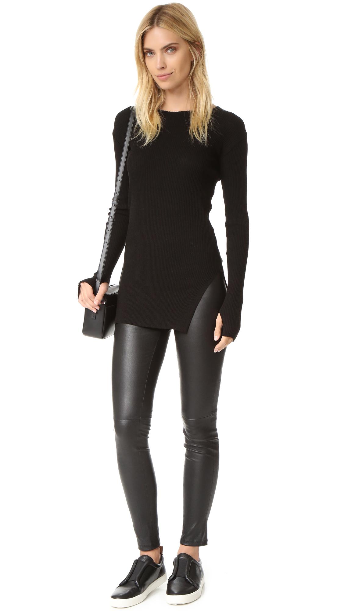Lyst helmut lang raw edge long sleeve tee in black for Adam lippes women s long sleeve vee t shirt