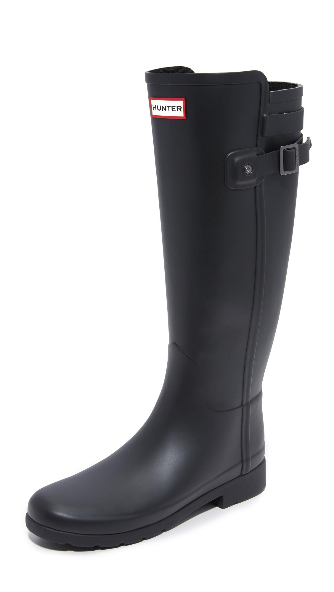 hunter original refined back strap boots in black lyst. Black Bedroom Furniture Sets. Home Design Ideas