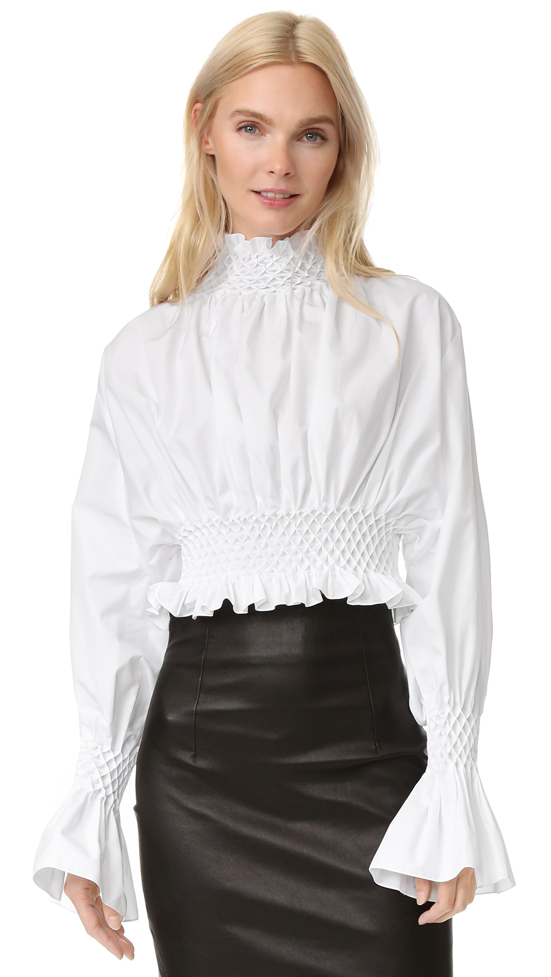 Womens White Ruffle Blouse 95
