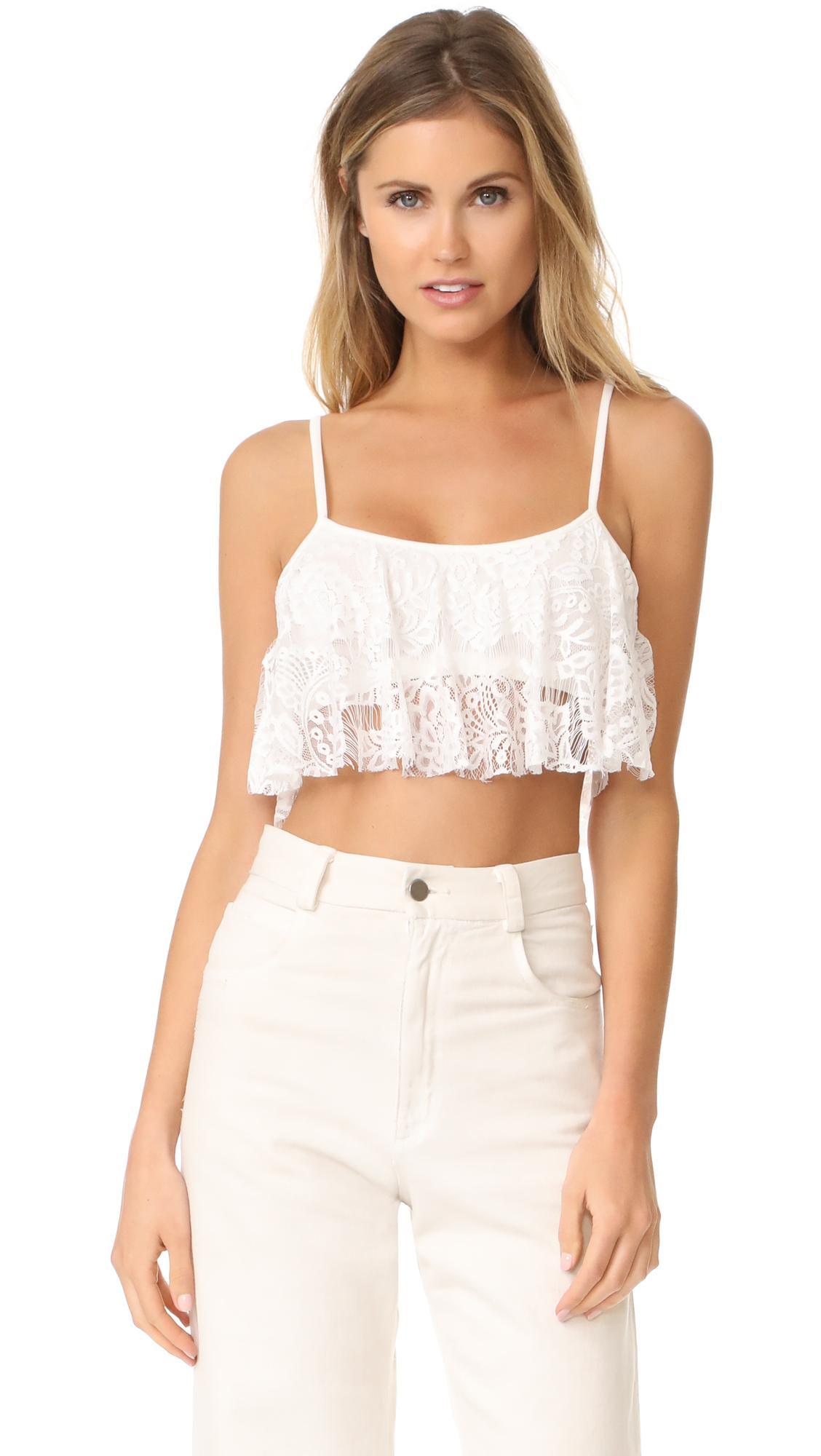 196fe75e12e6a Lyst - Love Sadie Lace Crop Top in White