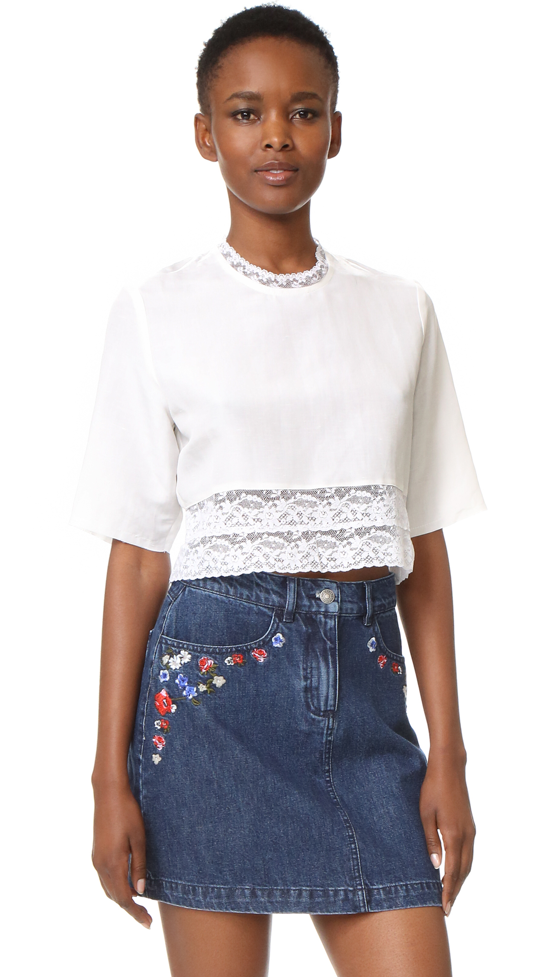 Matin French Lace Cropped Blouse in White