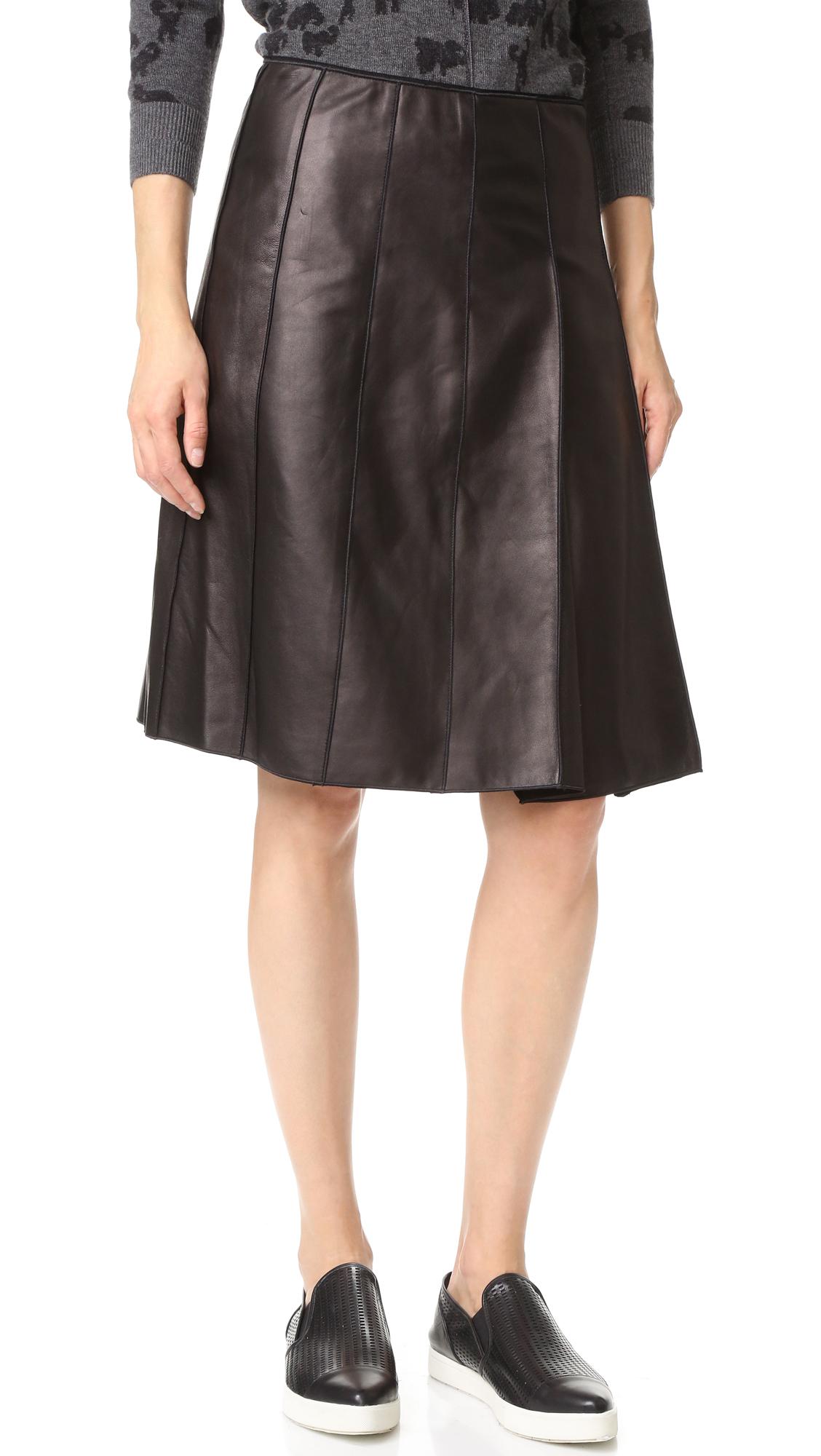 marc lambskin pleated leather skirt in lyst