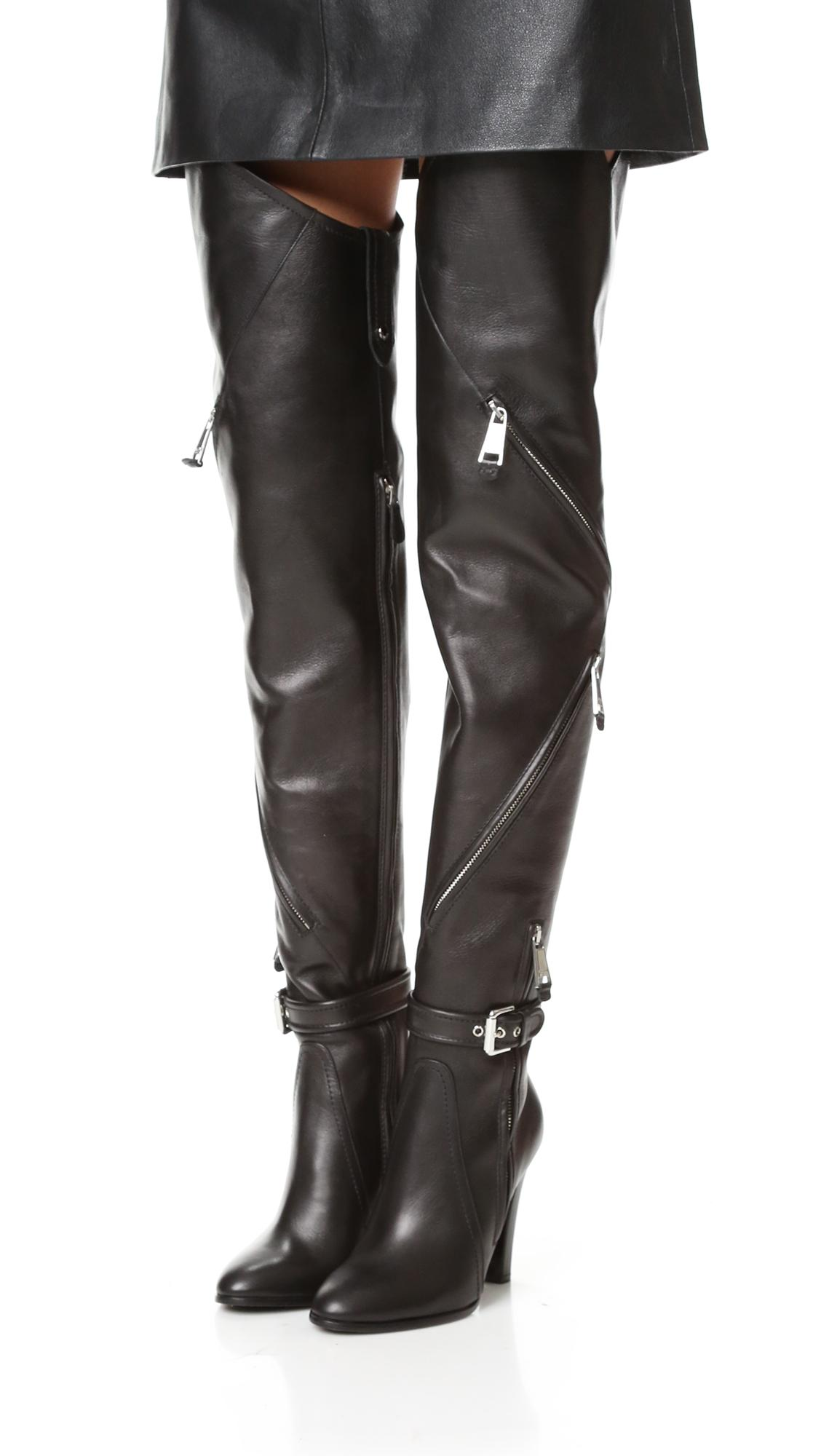 36b137cb320 Lyst - Moschino Over The Knee Boots in Black