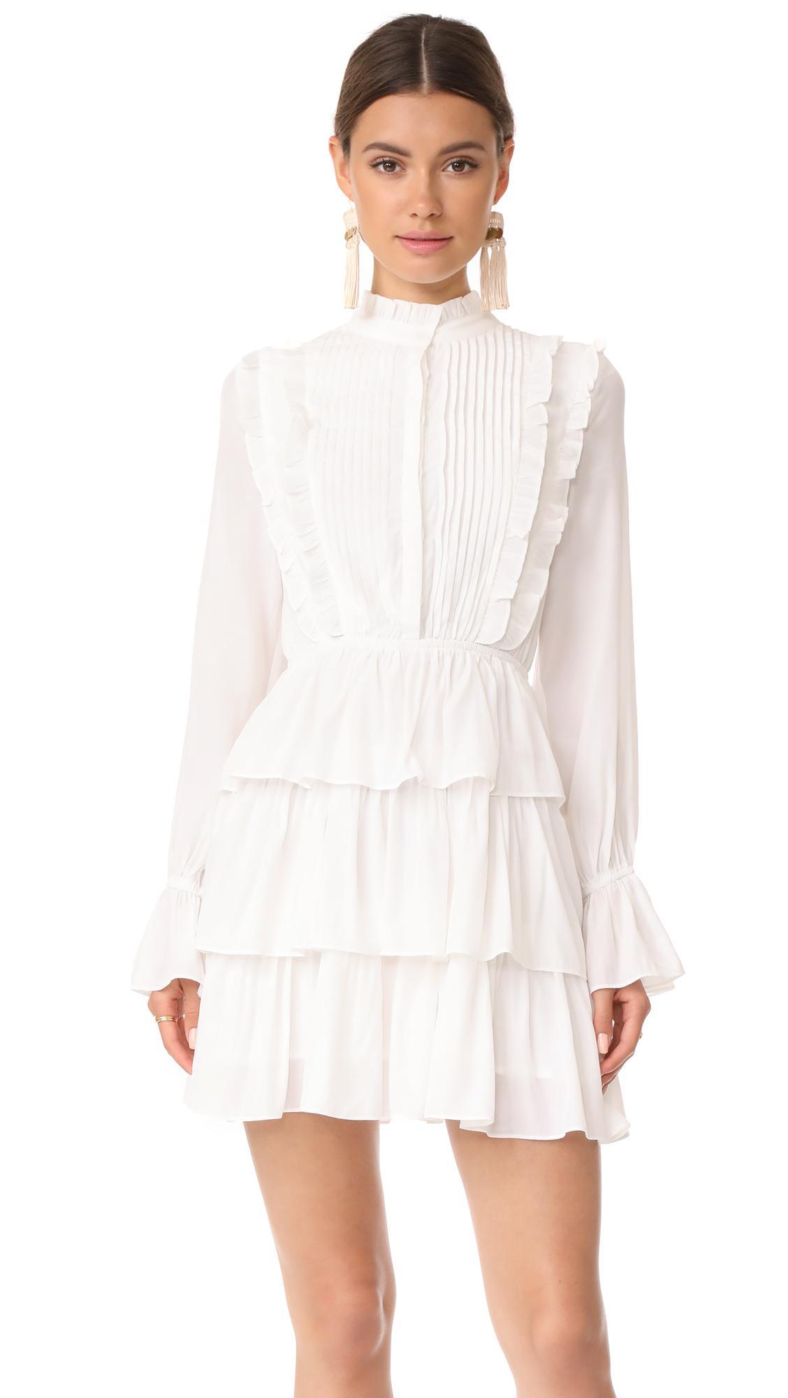 Moon River Ruffle Long Sleeve Dress in White - Lyst