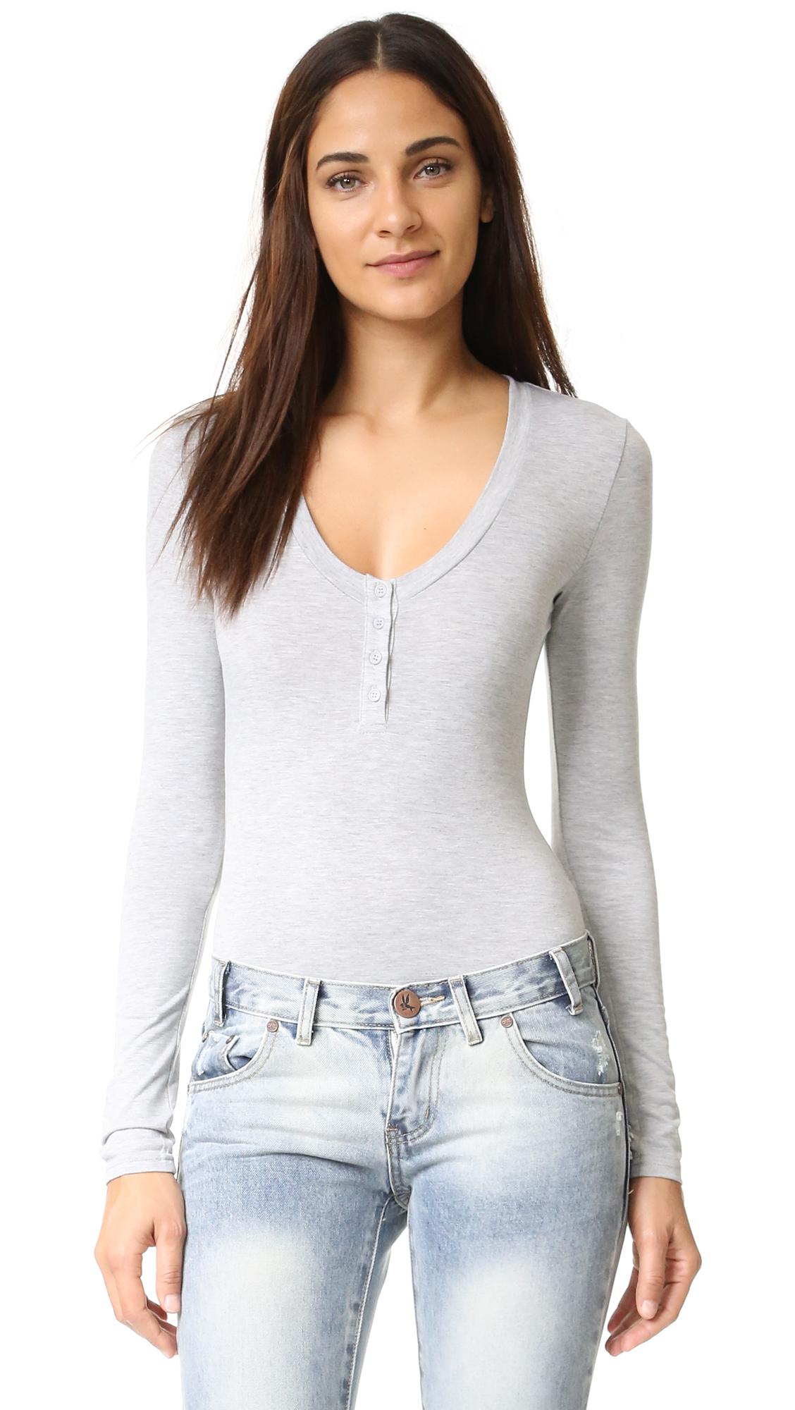Re:Named Long Sleeve Henley Bodysuit in Gray