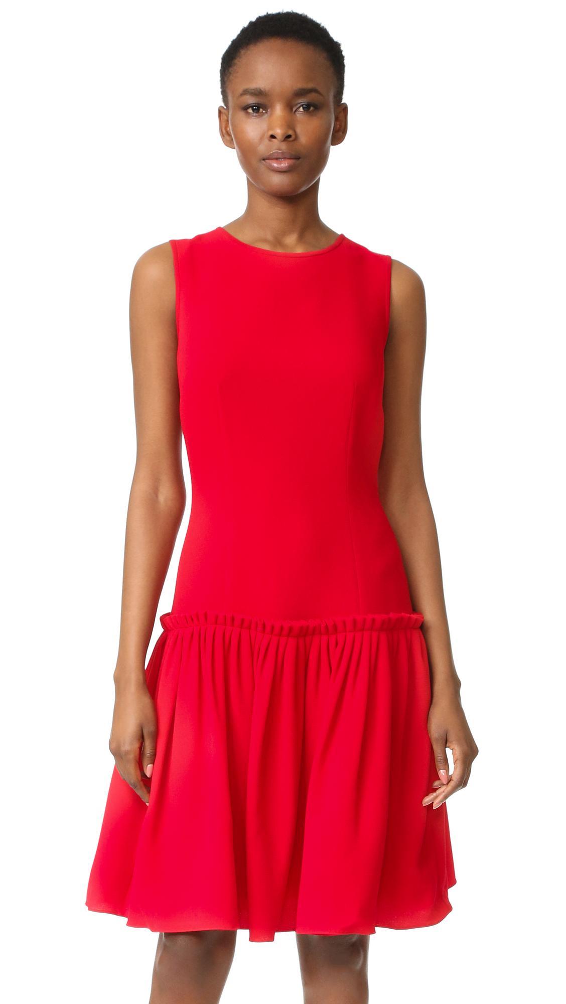 Prabal gurung Drop Waist Dress in Red | Lyst