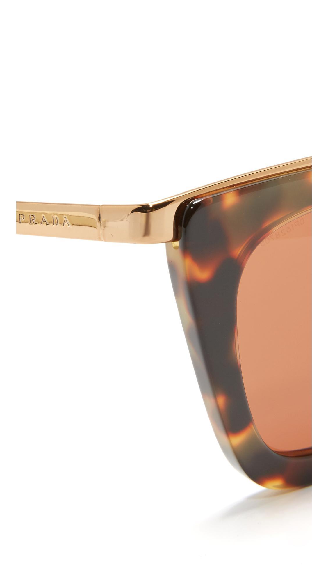 e1416c6793 Lyst - Prada Metal Bridge Sunglasses in Brown