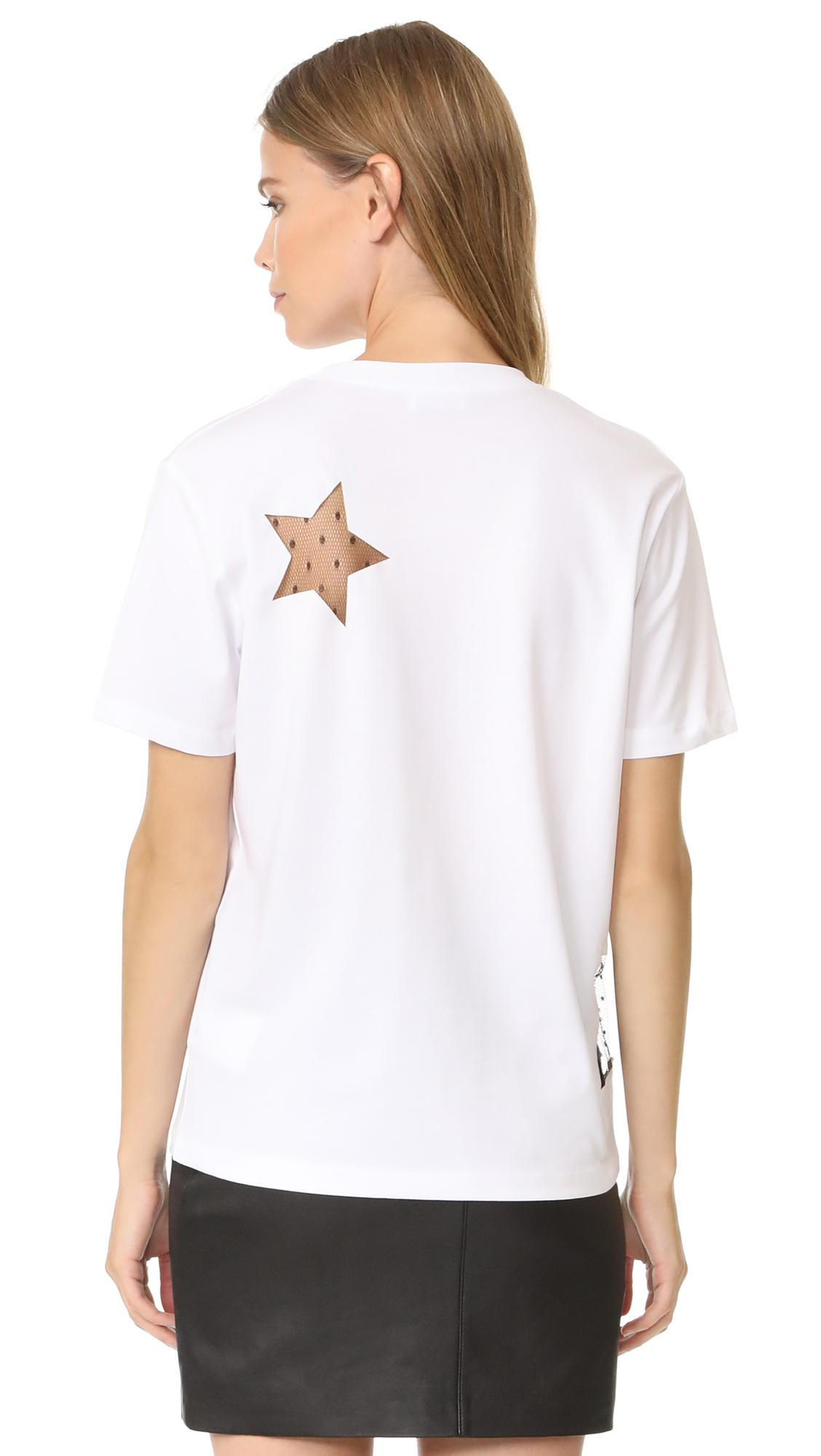 Lyst red valentino star t shirt in white for Red valentino t shirt