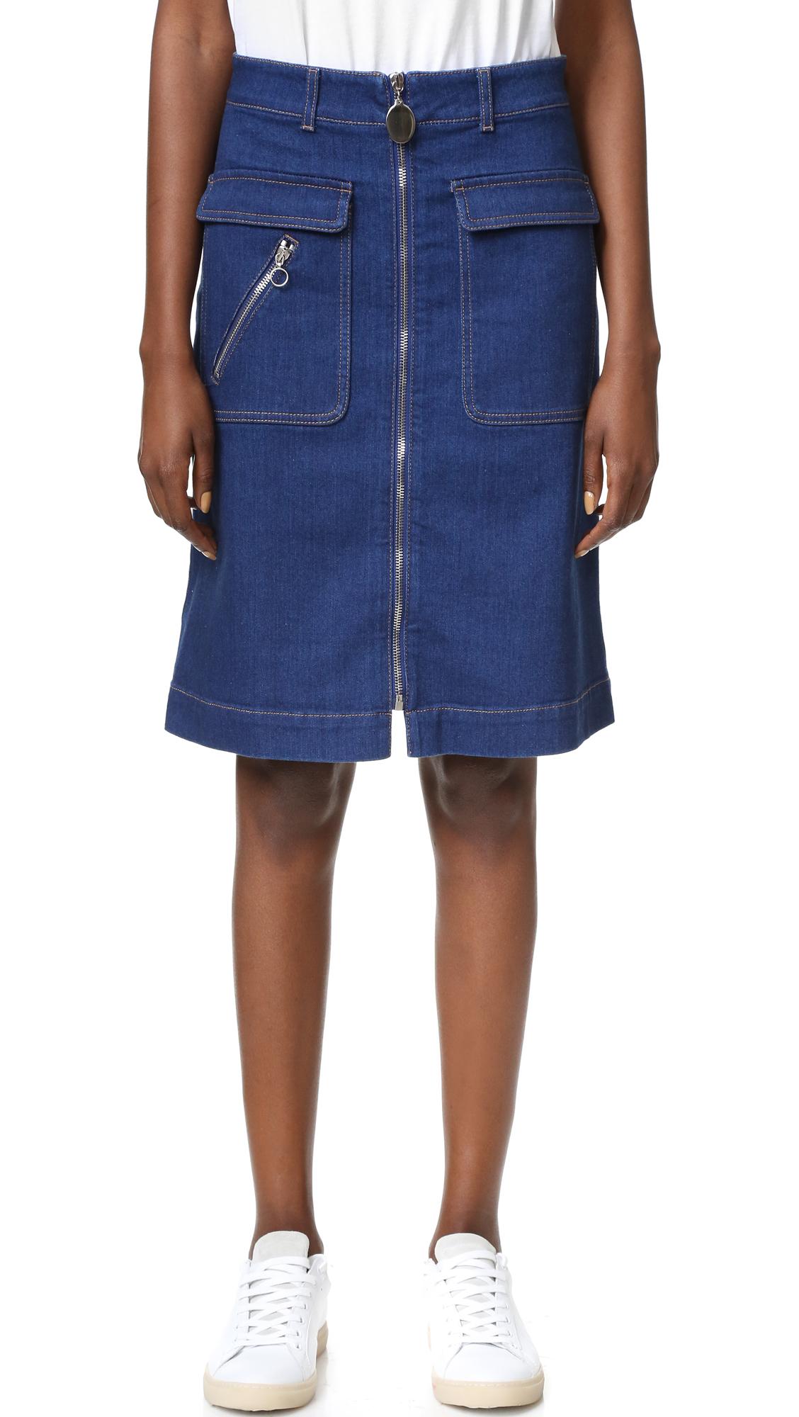 stella mccartney denim skirt in blue lyst