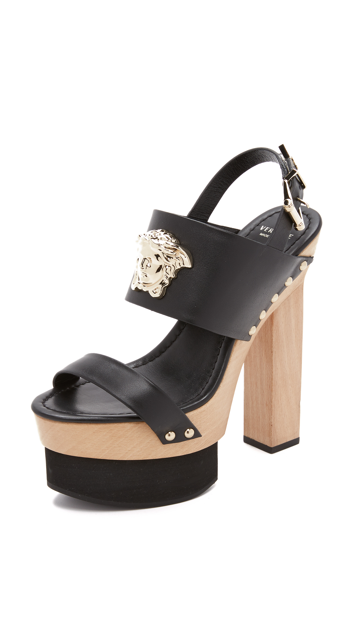 Versace Wedge Sandals In Brown Lyst