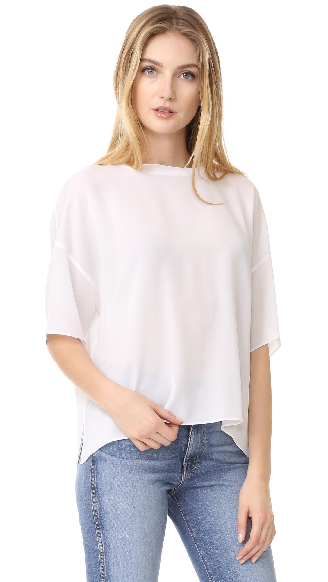 Vince rib neck silk tee in white lyst for Vince tee shirts sale