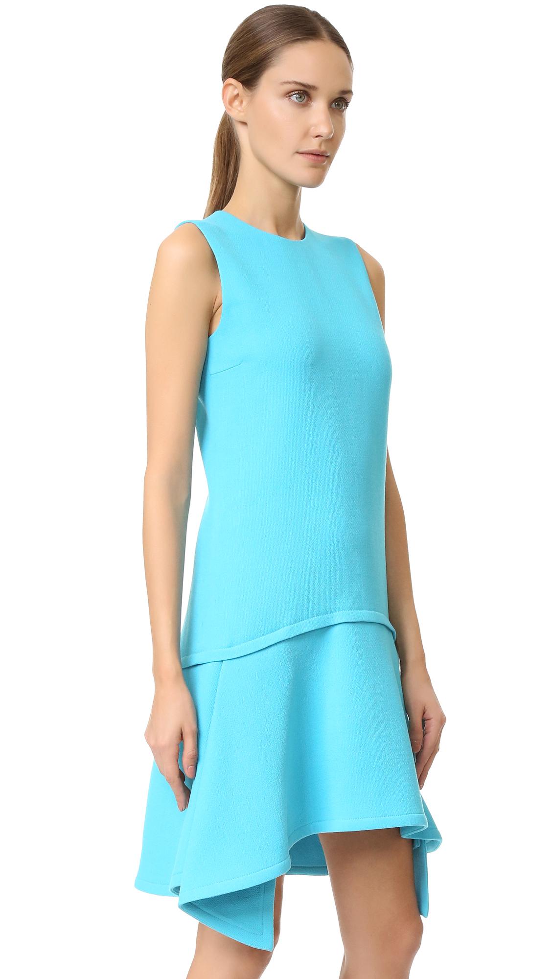 Victoria, Victoria Beckham Draped Skirt Dress in Blue