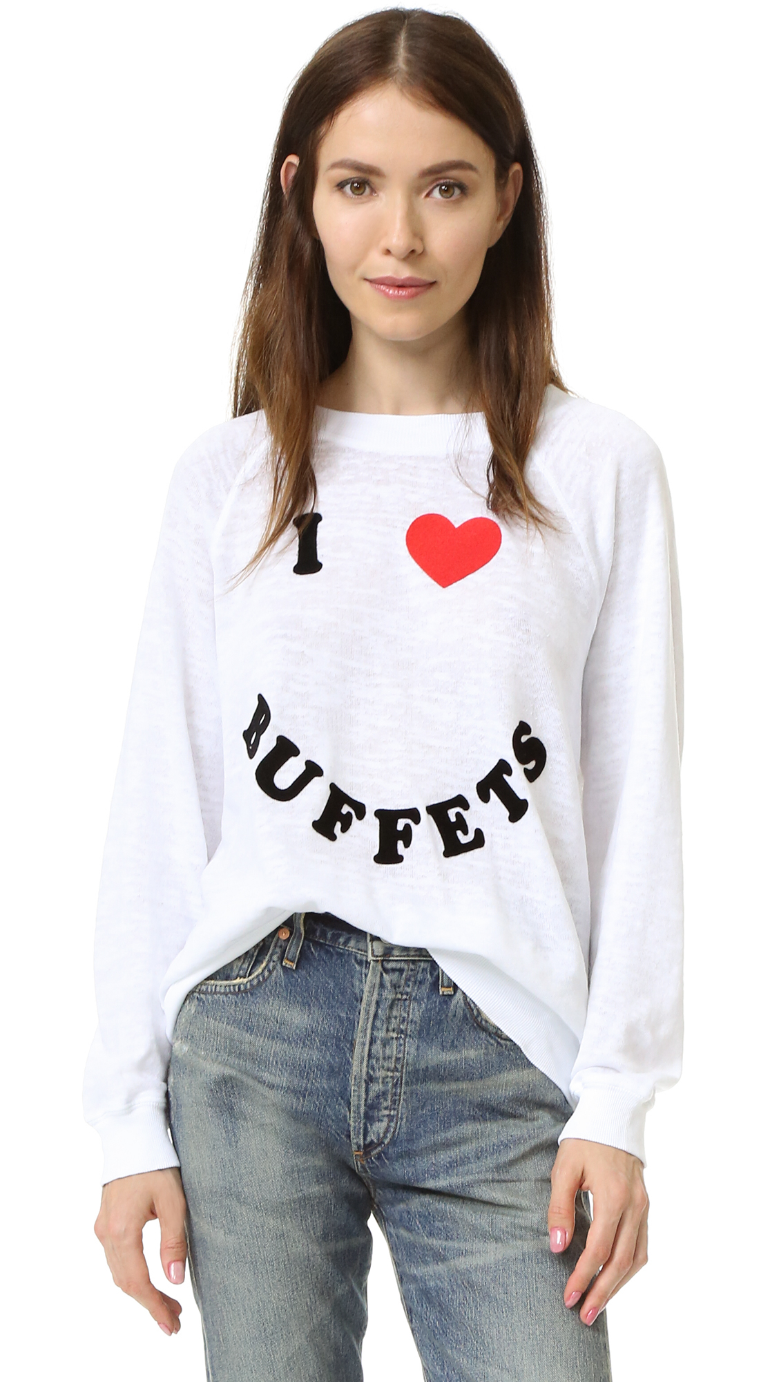 Wildfox buffet break sweatshirt in white clean white lyst for How to clean white dress shirts