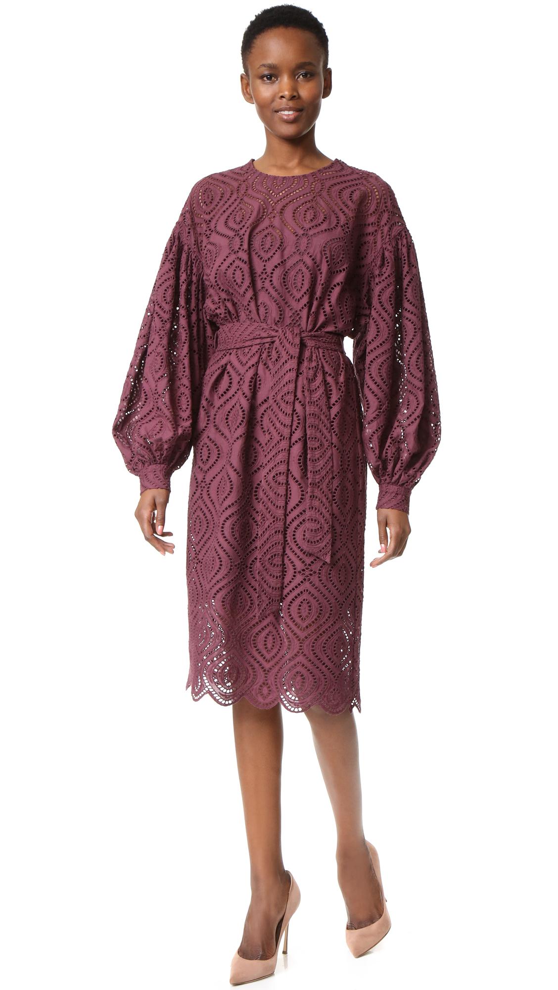 Zimmermann karmic embroidered dress in purple lyst