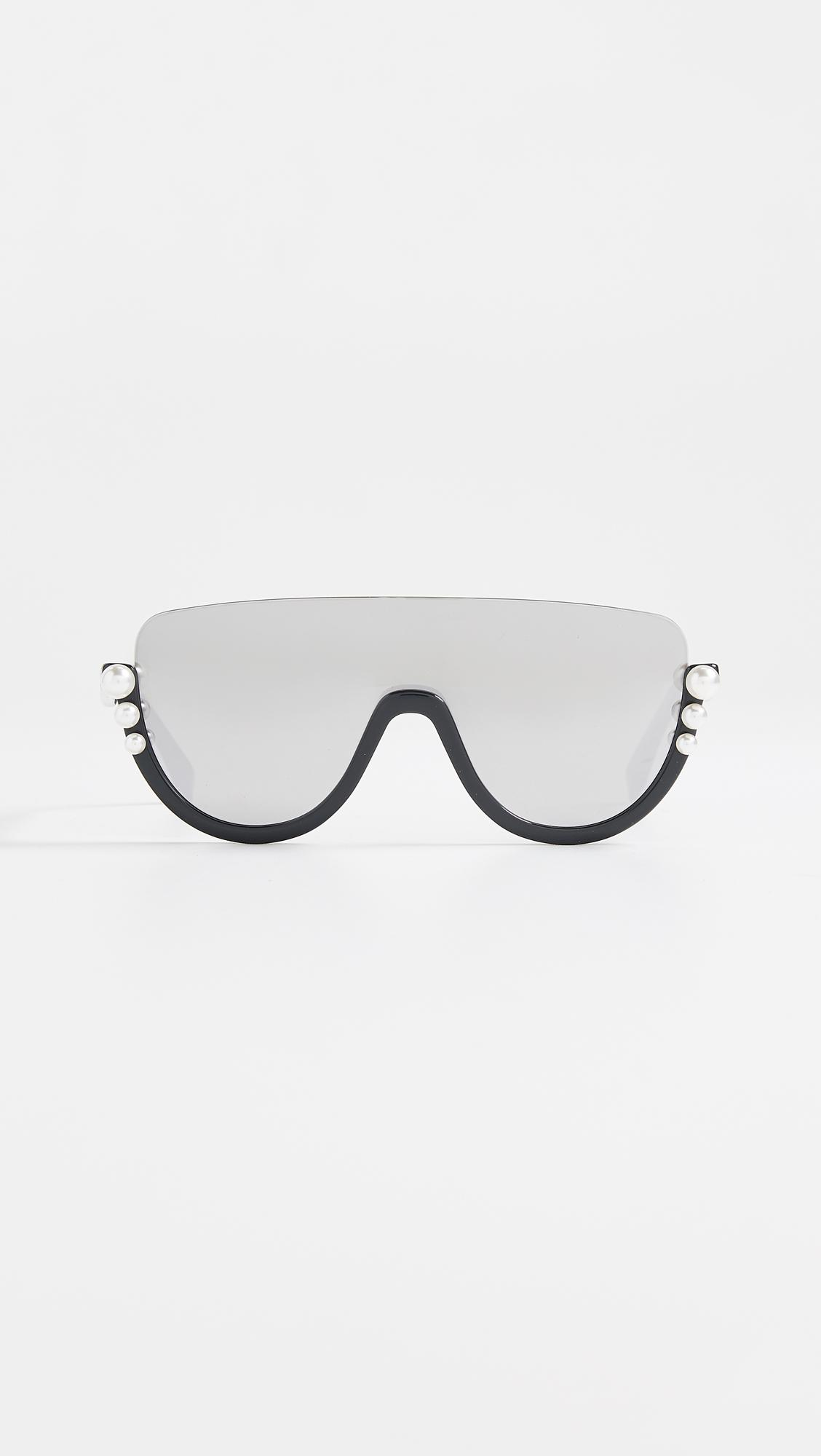 Lyst - Fendi Bottom Frame Imitation Pearl Sunglasses