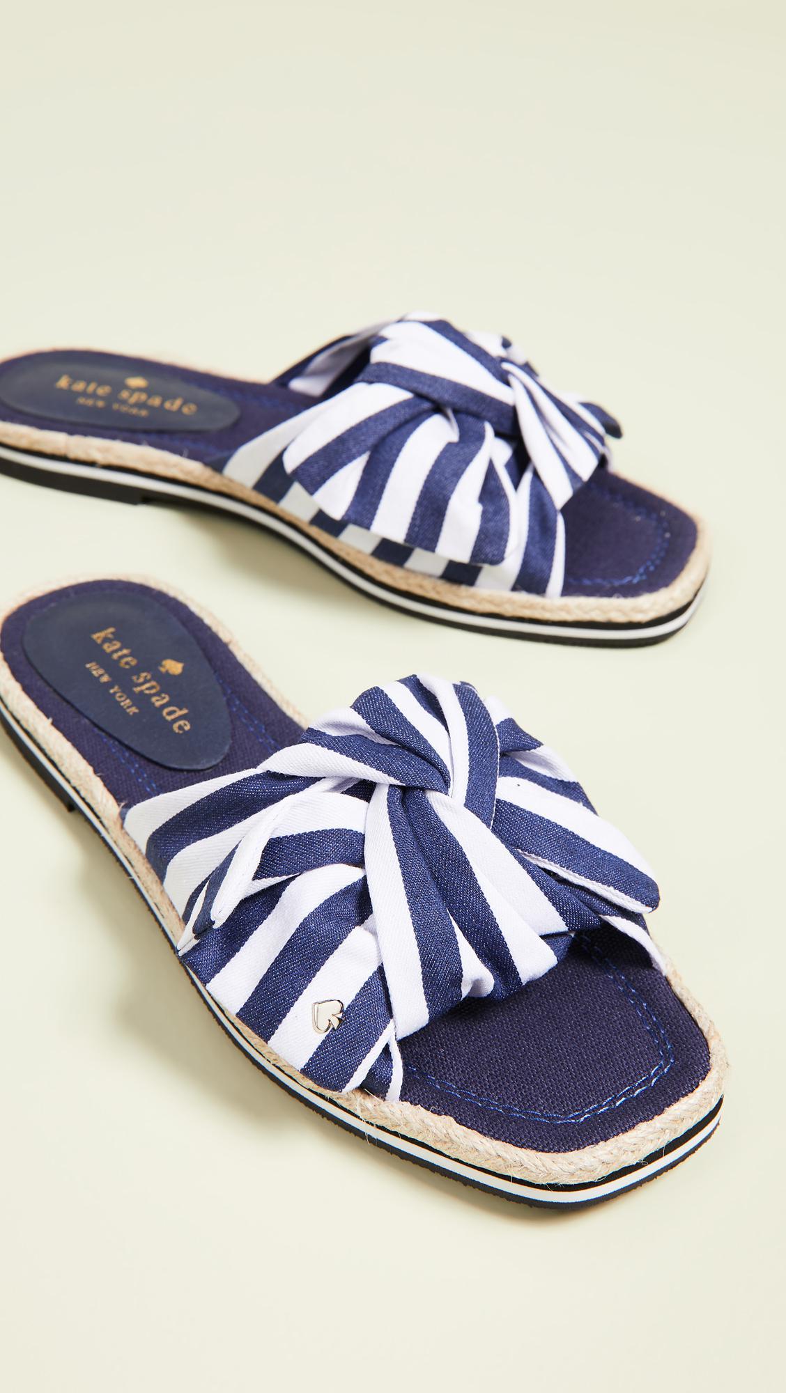 a253c3652742 Kate Spade Caliana Striped Slides in Blue - Save 21% - Lyst