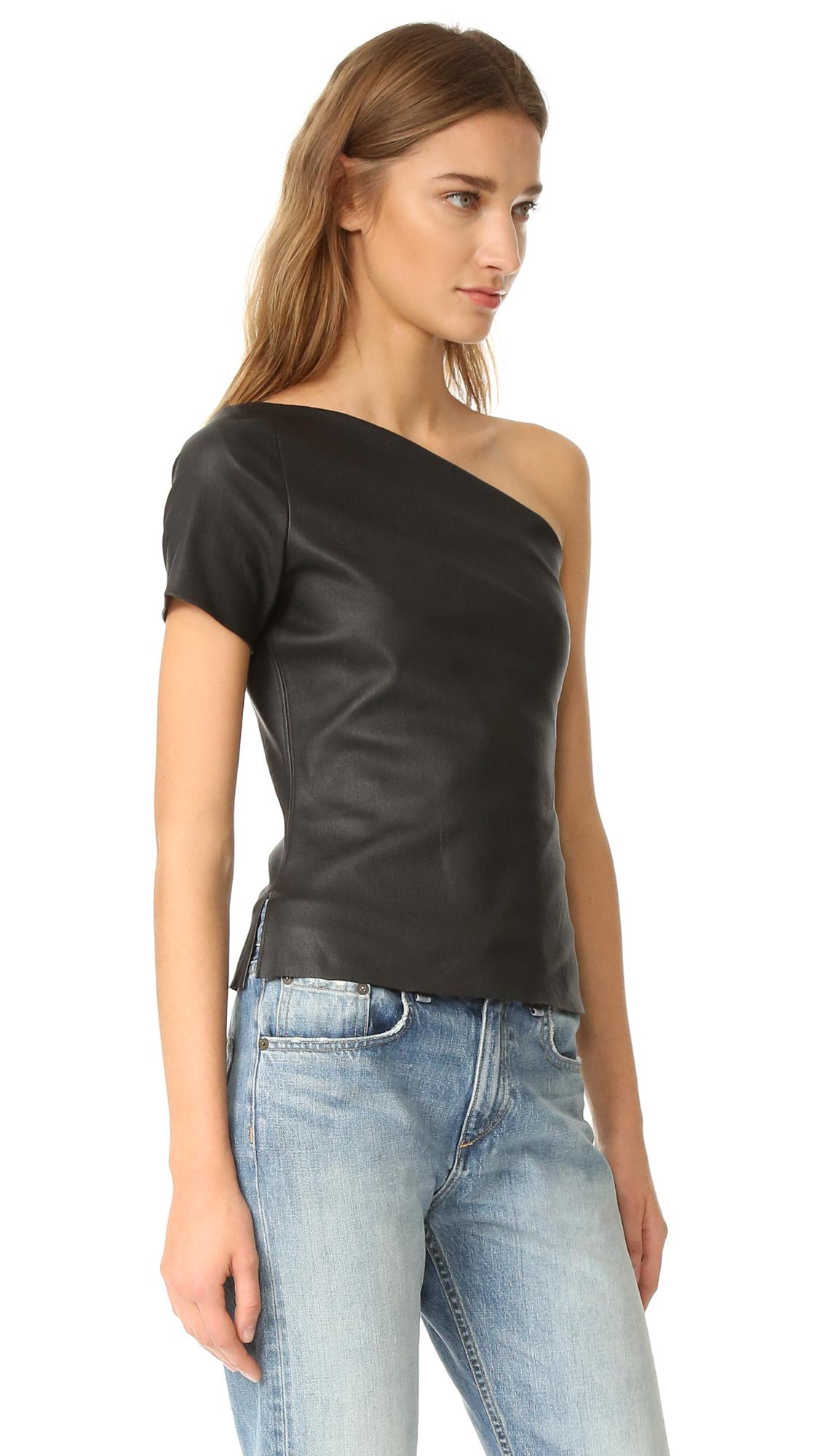 2e9e5967509 Helmut Lang Asymmetrical One Shoulder Leather Top in Black - Lyst