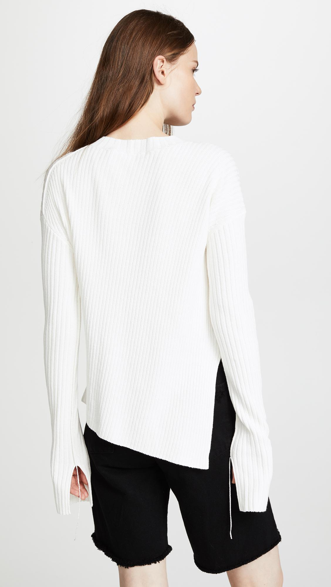 8f017018606aa8 Lyst - Helmut Lang Twisted Crew Sweater in White