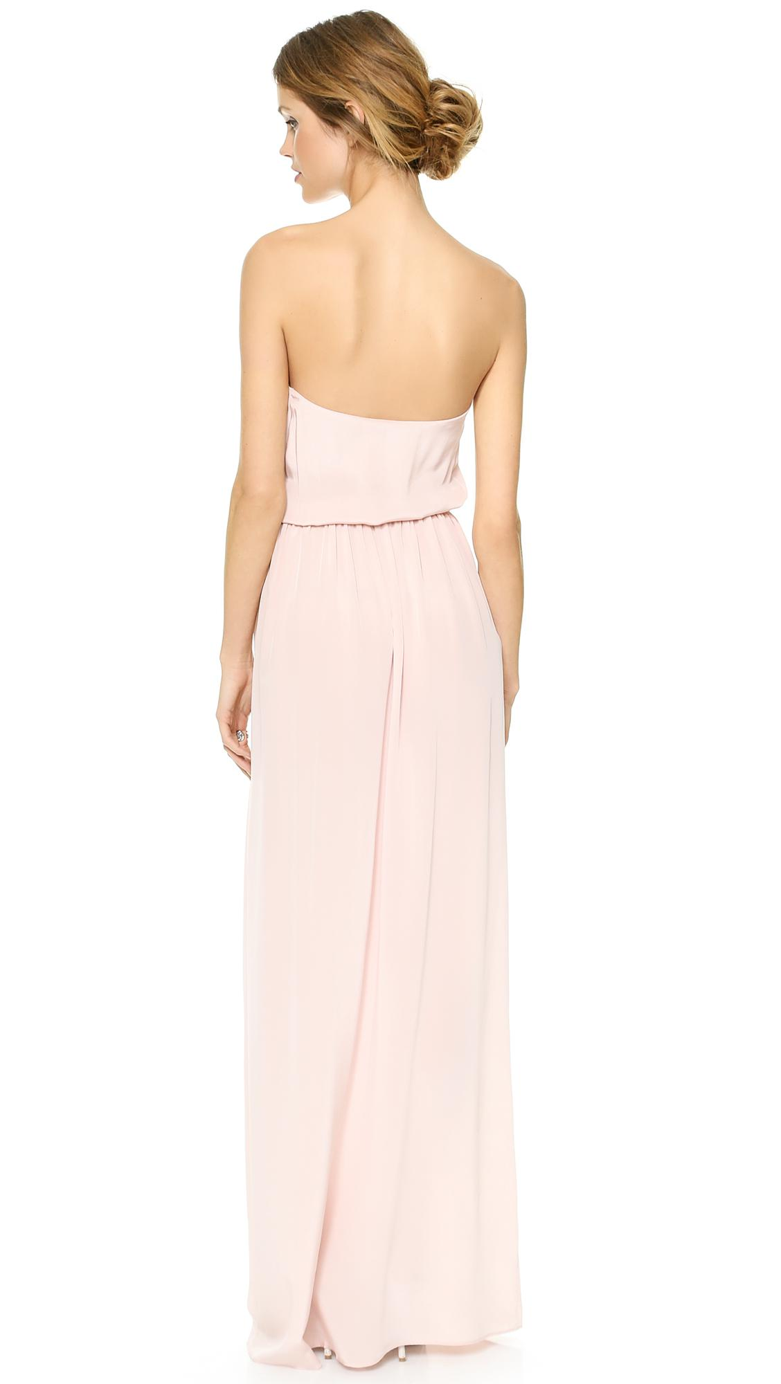 9e56db28fe754 Zimmermann Strapless Draped Maxi Dress in Pink - Lyst