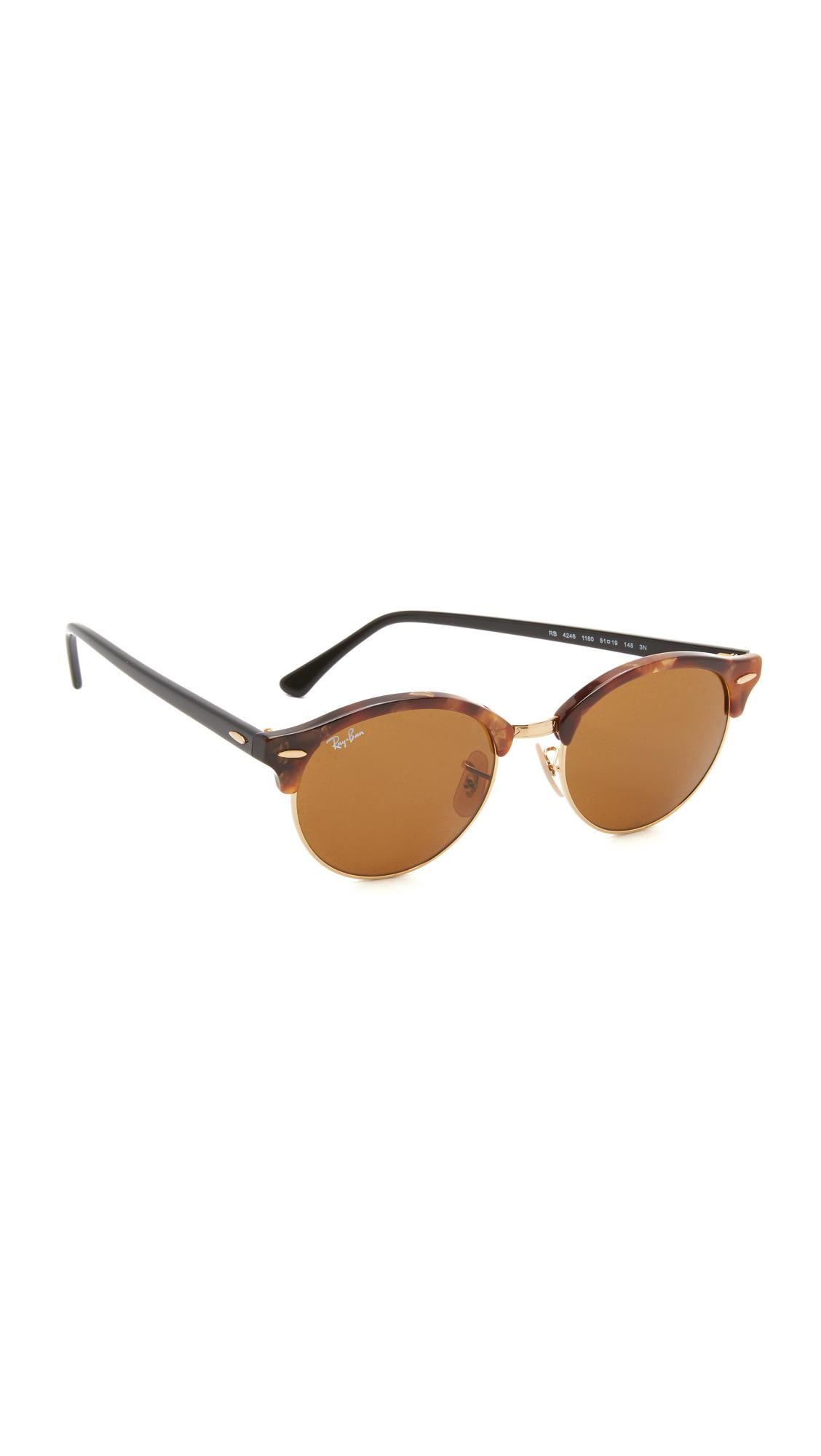 25b07808f9f03 Ray-Ban Rb4246 Clubmaster Round Sunglasses in Brown - Save 2% - Lyst