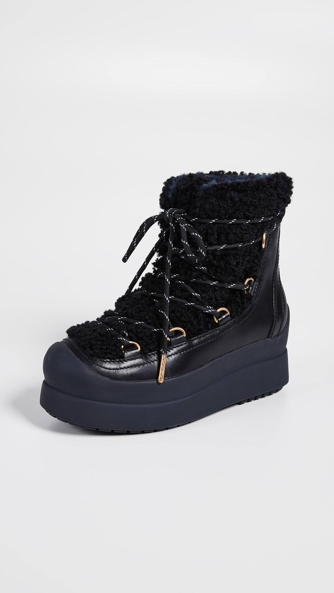 ac28dee28 Lyst - Tory Burch Courtney Shearling Boots in Black