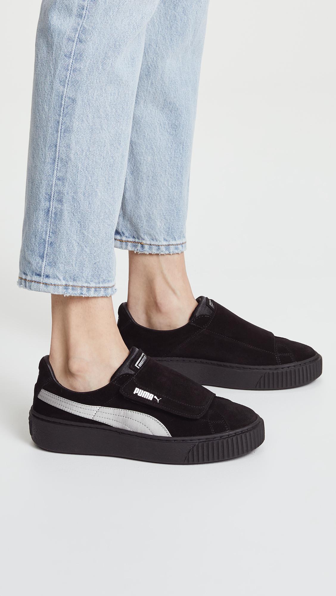 9ba2a396c05a PUMA Platform Strap Satin Ep Sneakers in Black - Lyst