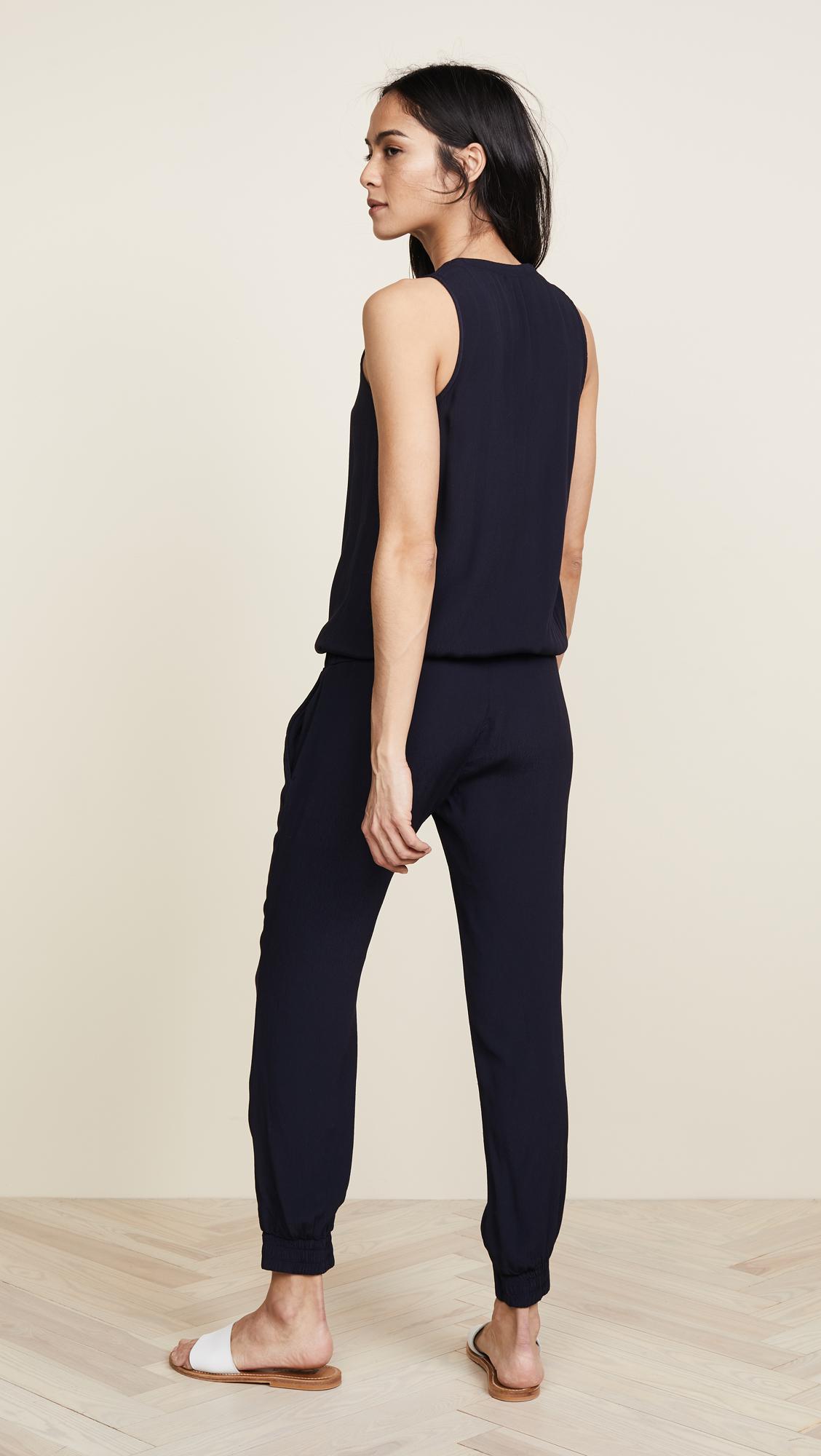 7e77c7a836b Monrow - Black Crepe Basics Jumpsuit - Lyst. View fullscreen