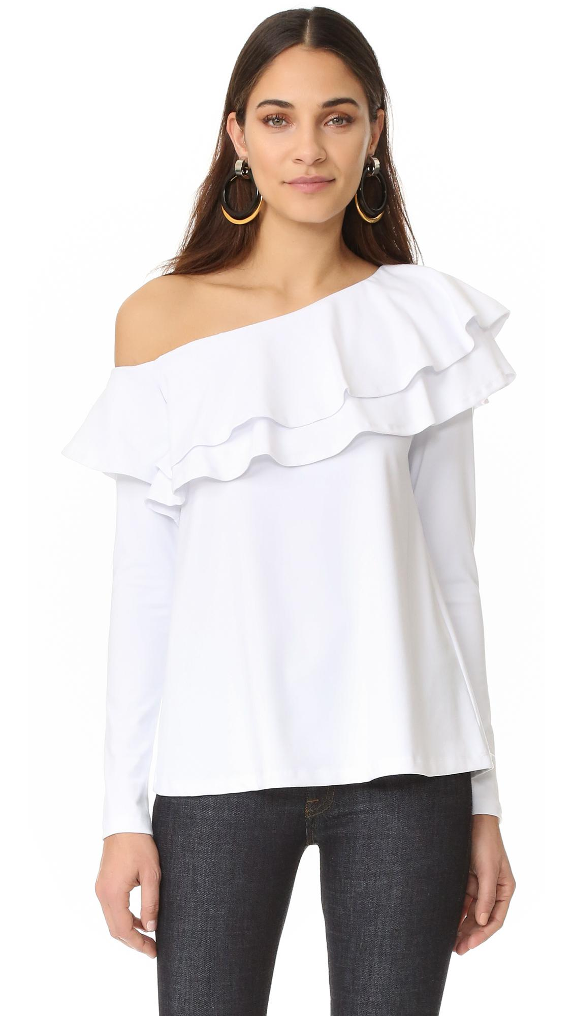 bb8777dd7f8f0 Lyst - Susana Monaco One Shoulder Top in White