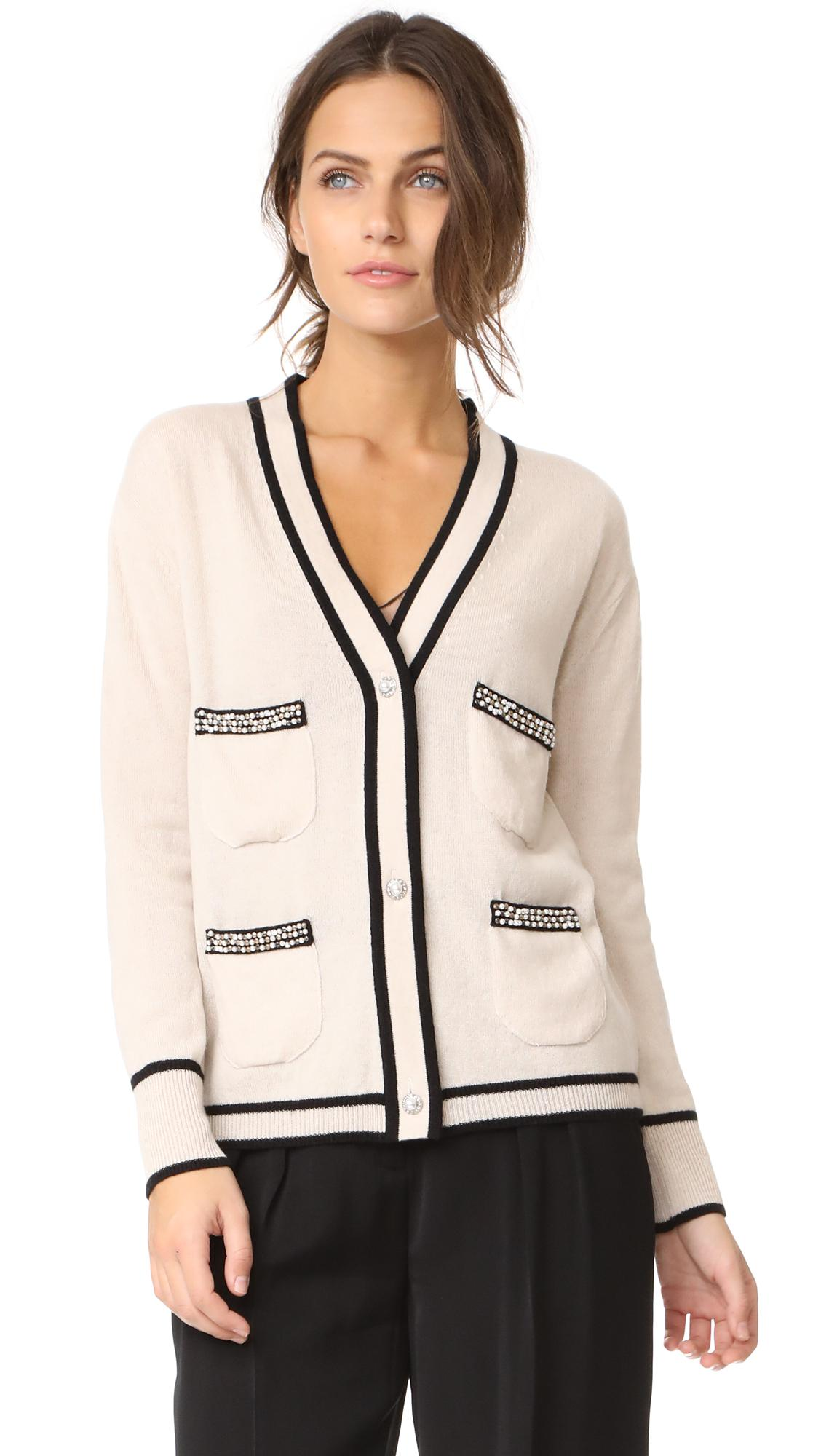 Leur logette Cashmere Beaded Cardigan in White | Lyst