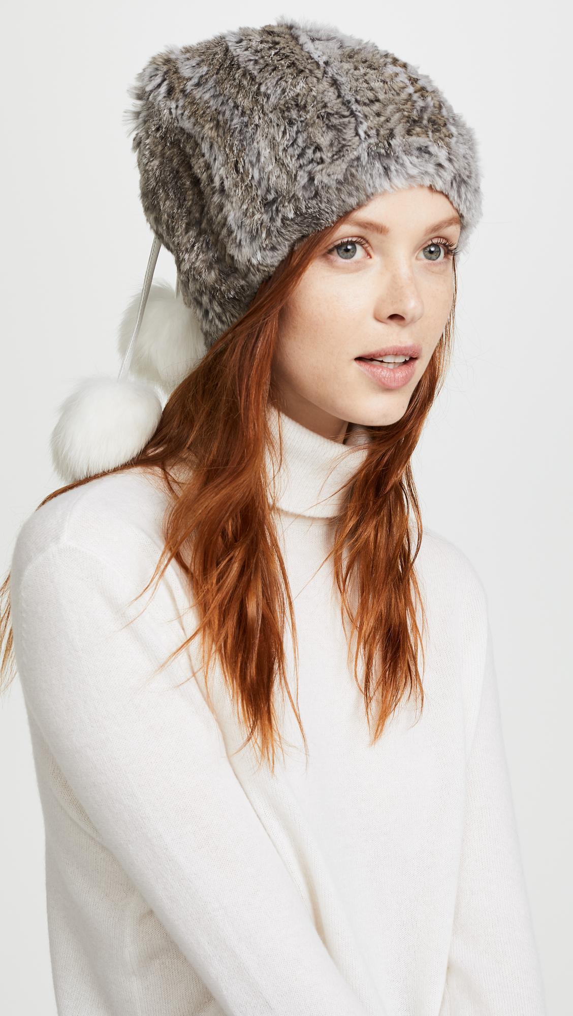 04e53620d2f Lyst - Adrienne Landau Fur Pom Pom Hat