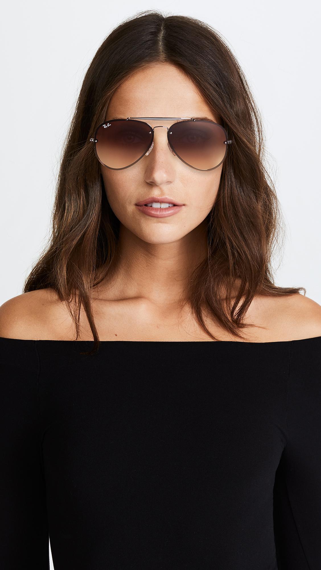 8748f6b60f Ray-Ban Blaze Flat Lens Pilot Aviator Sunglasses in Brown - Lyst