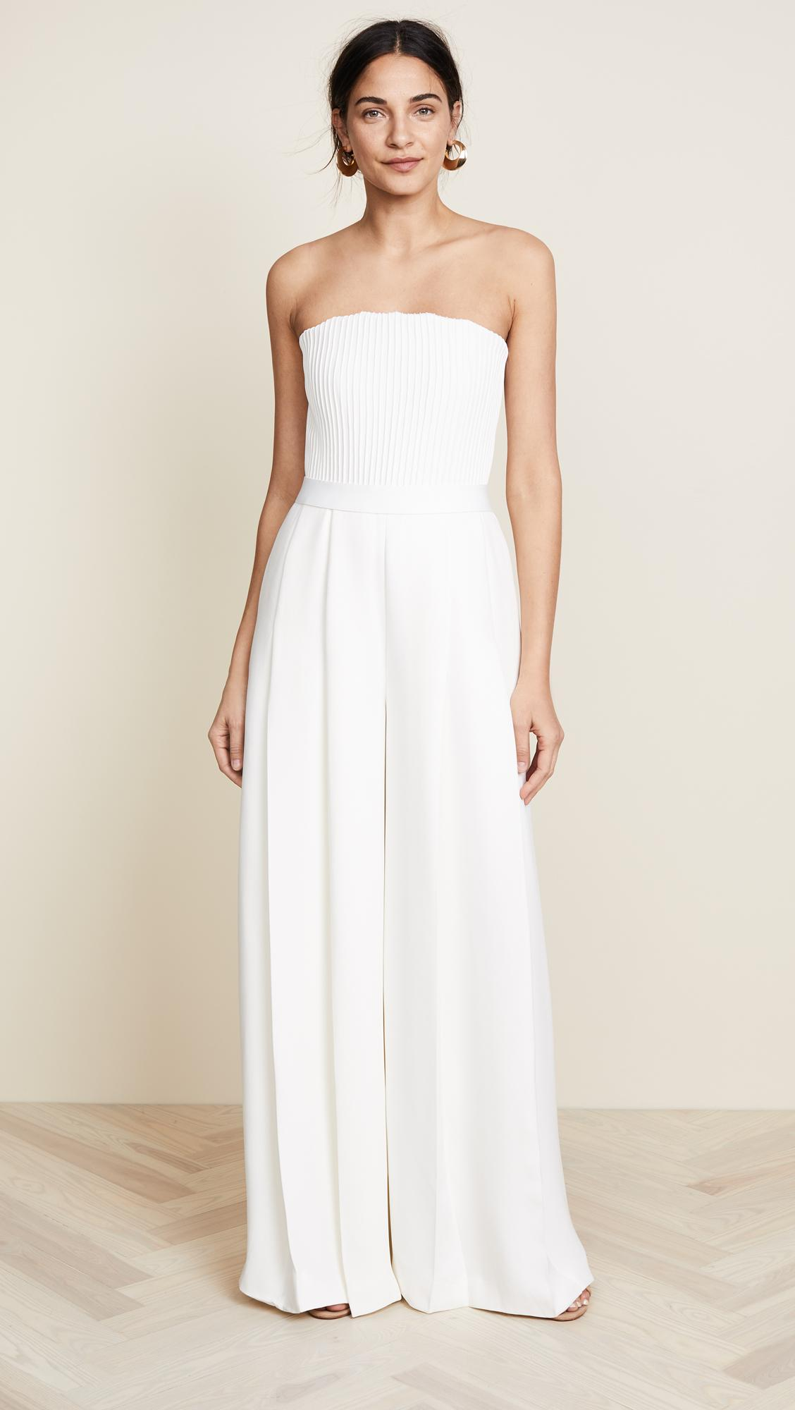 b1ea1941 Brandon Maxwell Strapless Ribbed Bodice Jumpsuit In White Lyst