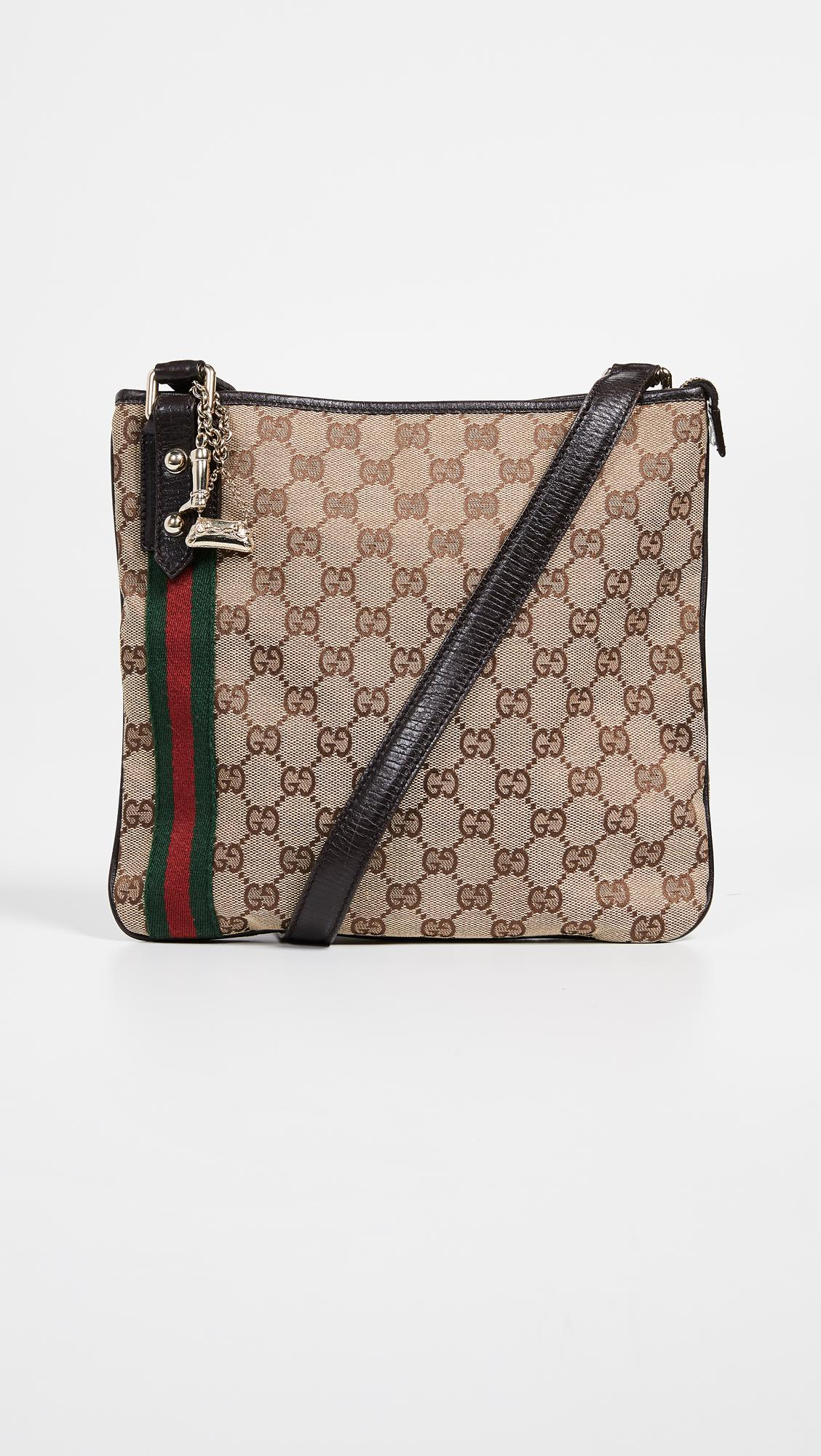 9c3c45b3f0dd What Goes Around Comes Around Gucci Brown Canvas Jolicoeur Messenger ...