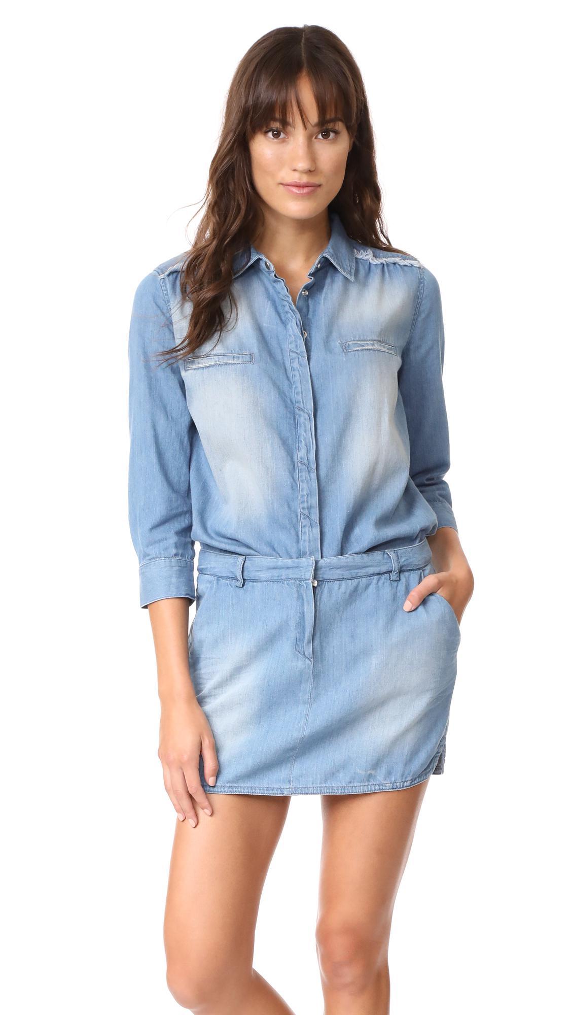 Lyst Etienne Marcel Jackie Denim Mini Dress In Blue