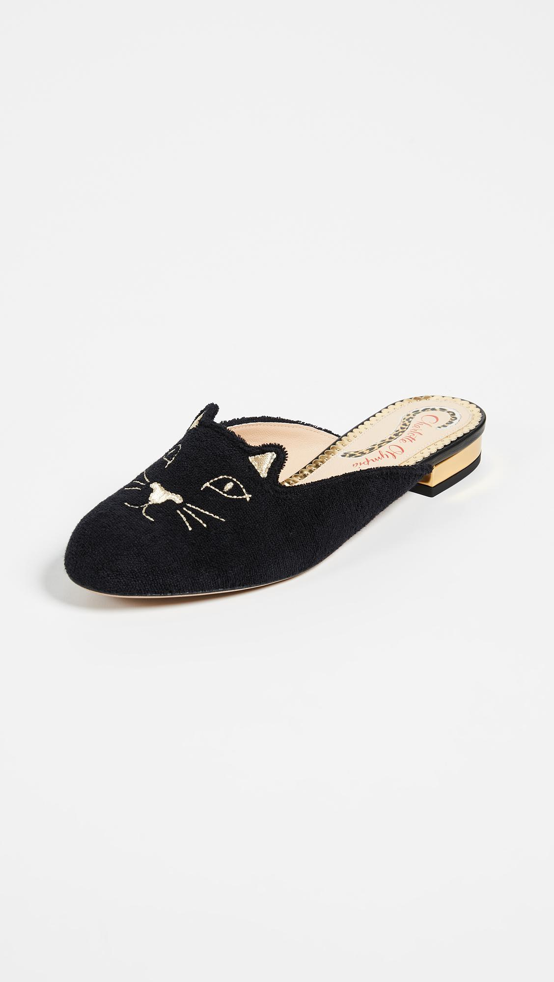 Charlotte Olympia French Terry Kitty Slippers vsZfKB