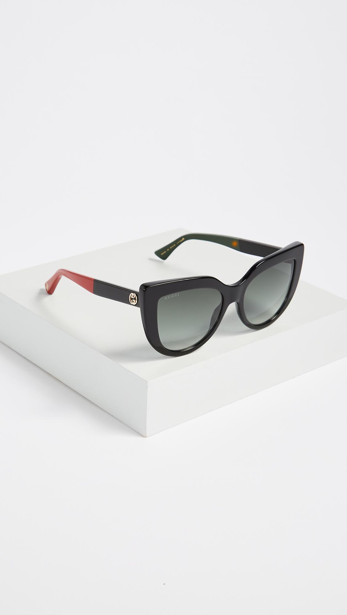 480c43829b91 Gucci Cat Eye Flat Top Sunglasses in Gray - Lyst