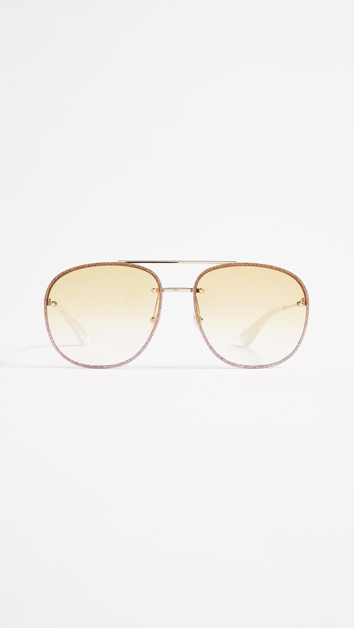 123058b1c8d Lyst - Gucci Urban Web Block Glitter Aviator Sunglasses in Metallic