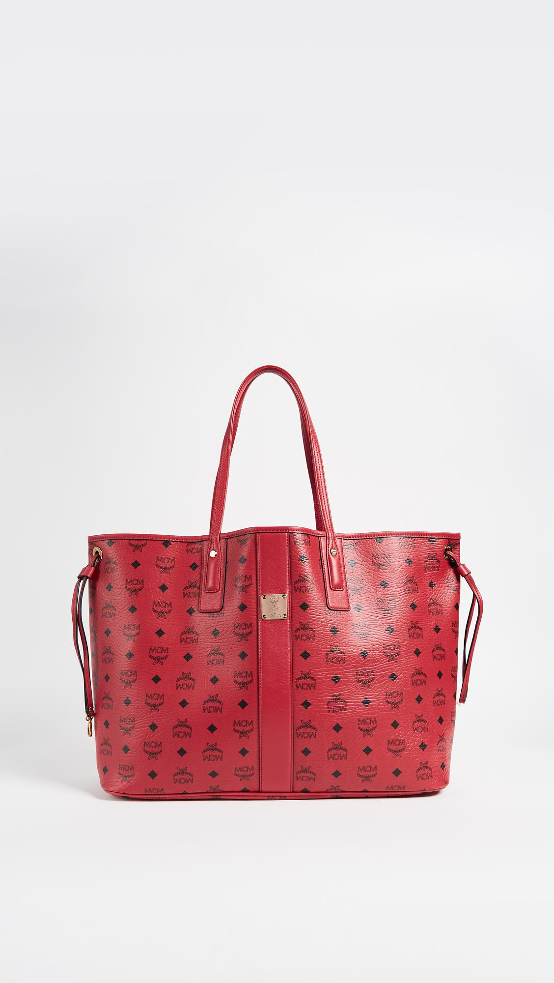lyst mcm large liz shopper tote in red. Black Bedroom Furniture Sets. Home Design Ideas