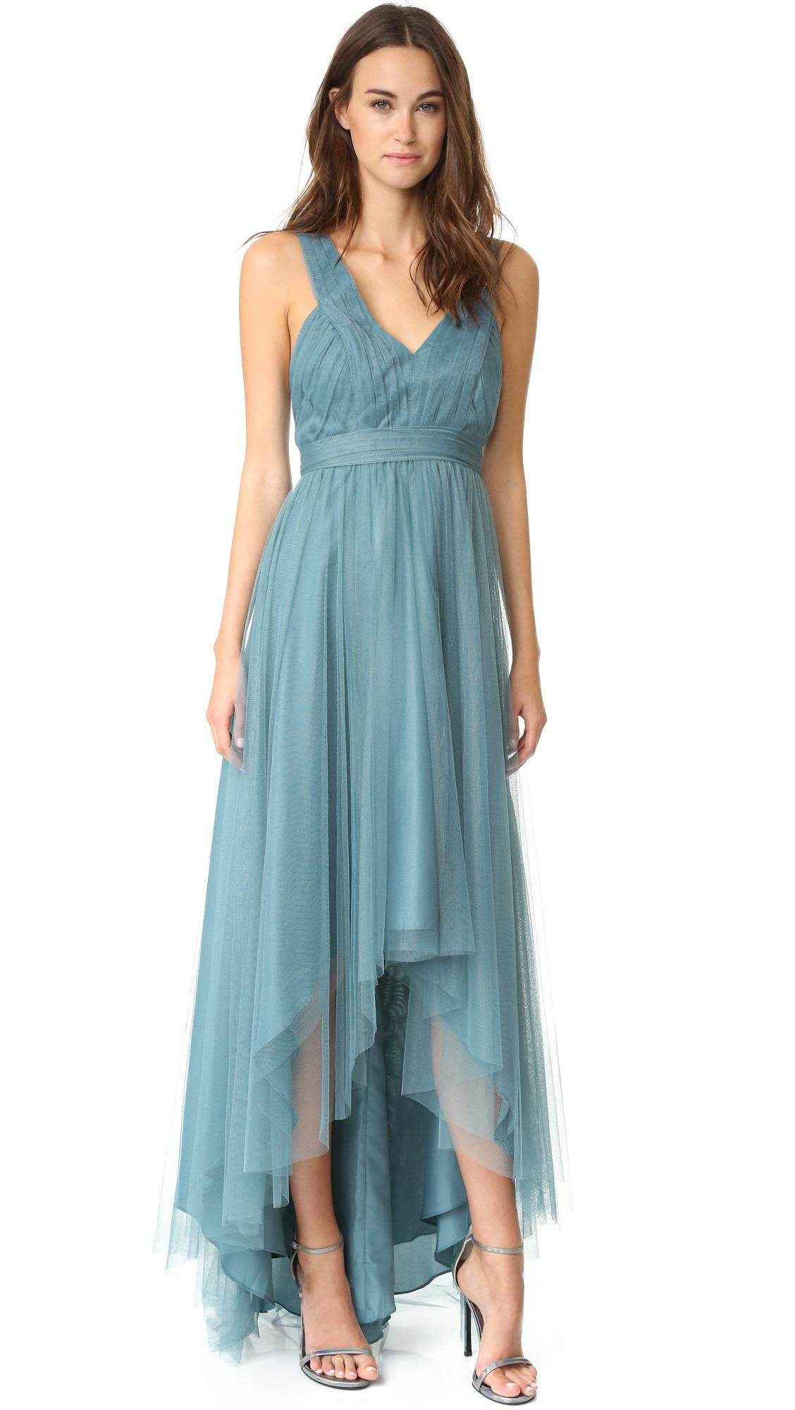 Lyst - Monique Lhuillier Bridesmaids Tulle High Low Gown in Blue
