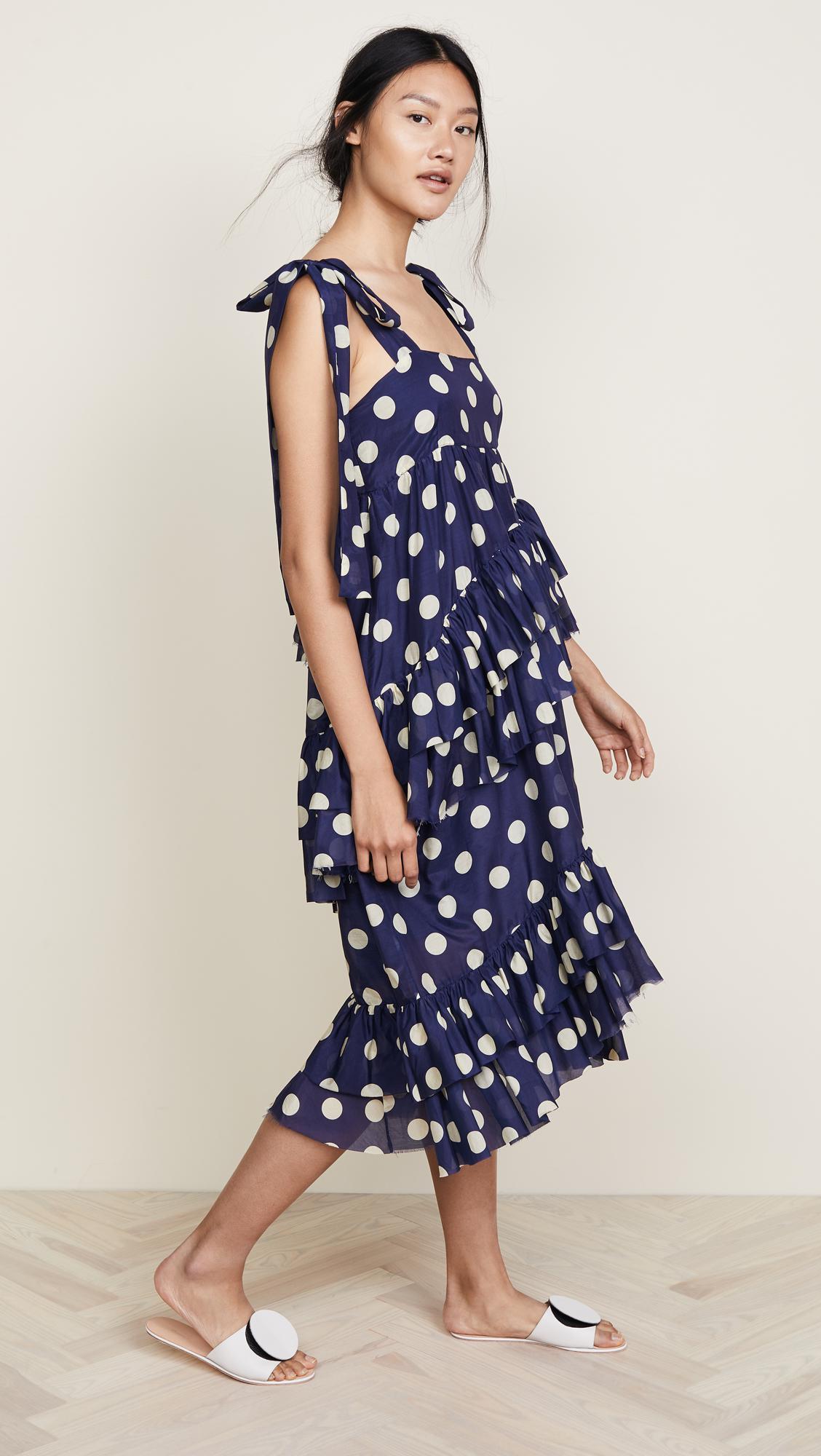 56862754e2 Lyst - Lee Mathews Minnie Spot Apron Dress in Blue