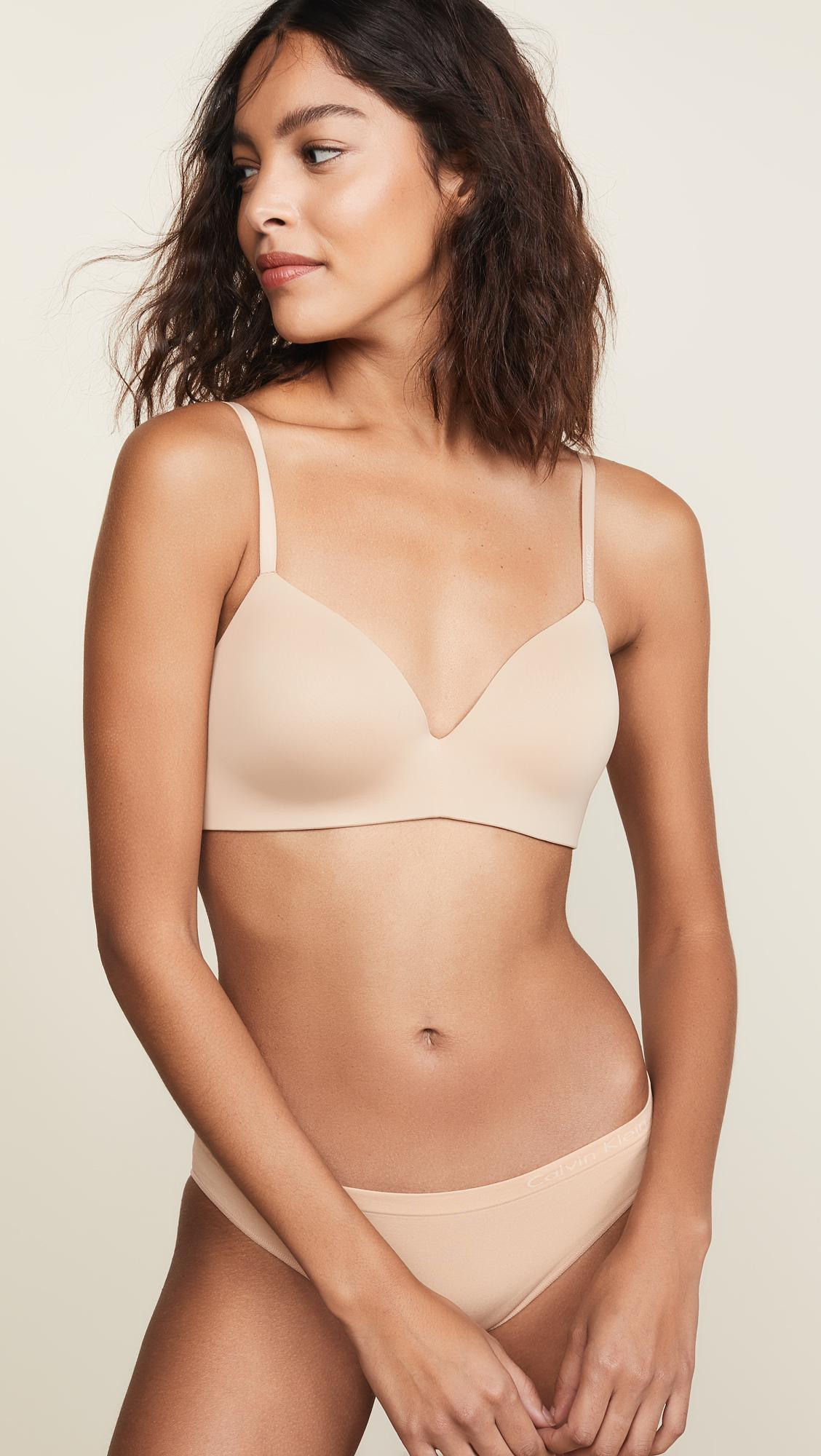 0e598e7504 Calvin Klein Form Lightly Lined Demi Bra in Natural - Lyst
