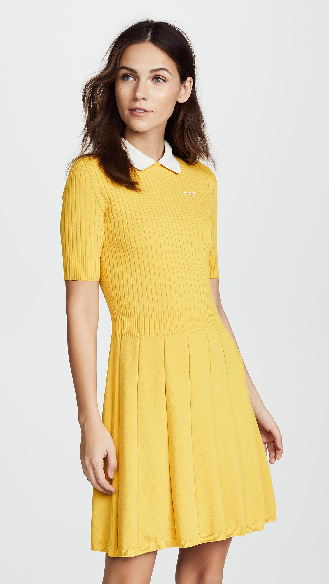 Lyst Red Valentino Collared Flare Dress In Yellow