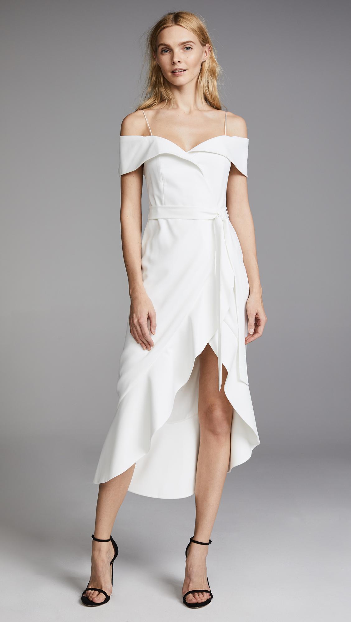 Lyst Alice Olivia Josie Off Shoulder Wrap Dress In White