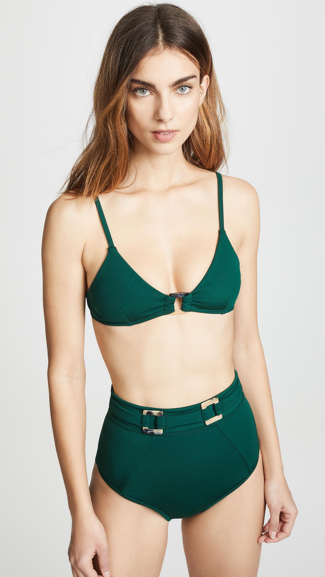 b5b3072bdc Lyst - Suboo Jungalow Ring Front Bralette Bikini Top in Green